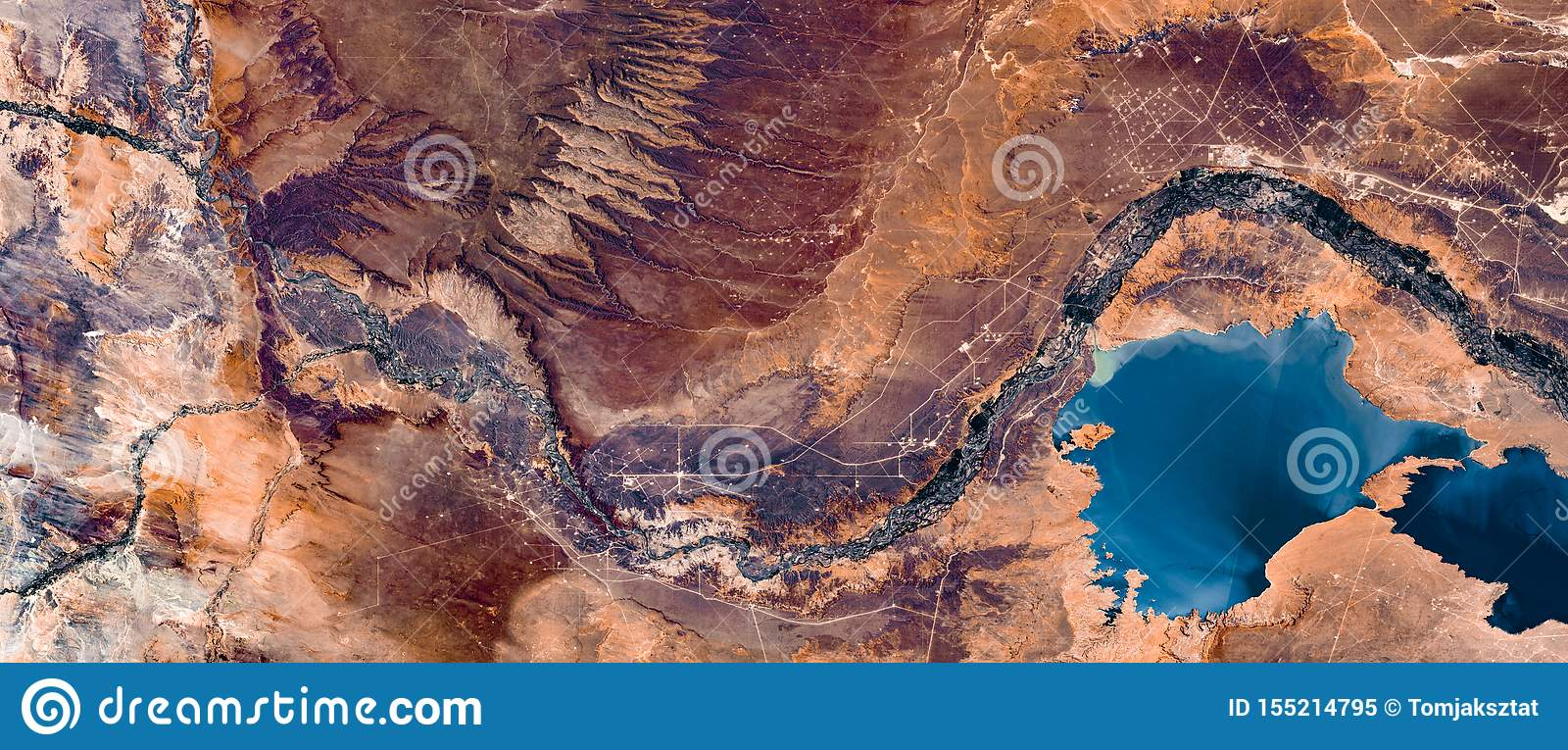 High resolution satellite image of river and Andes mountains from above, Neuquen, Argentina, natural background texture, aerial