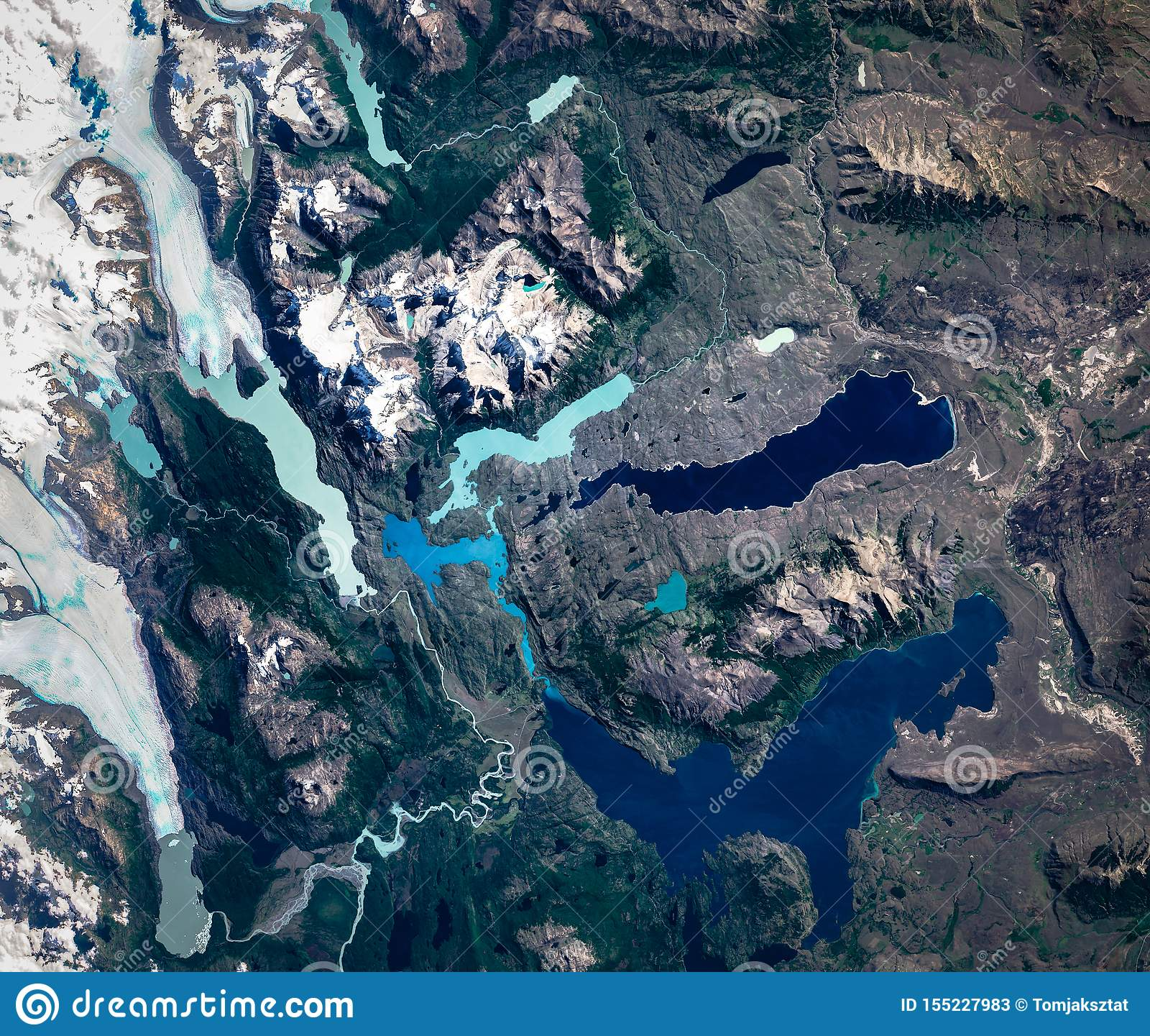 High Resolution Satellite Image Of Torres Del Paine National