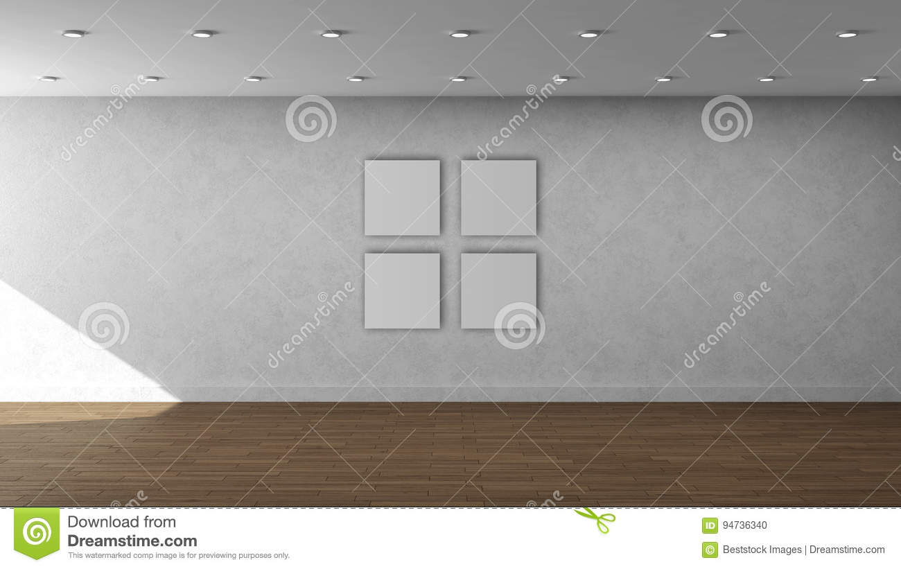 High Resolution White Wall Empty Interior Template With 4 White
