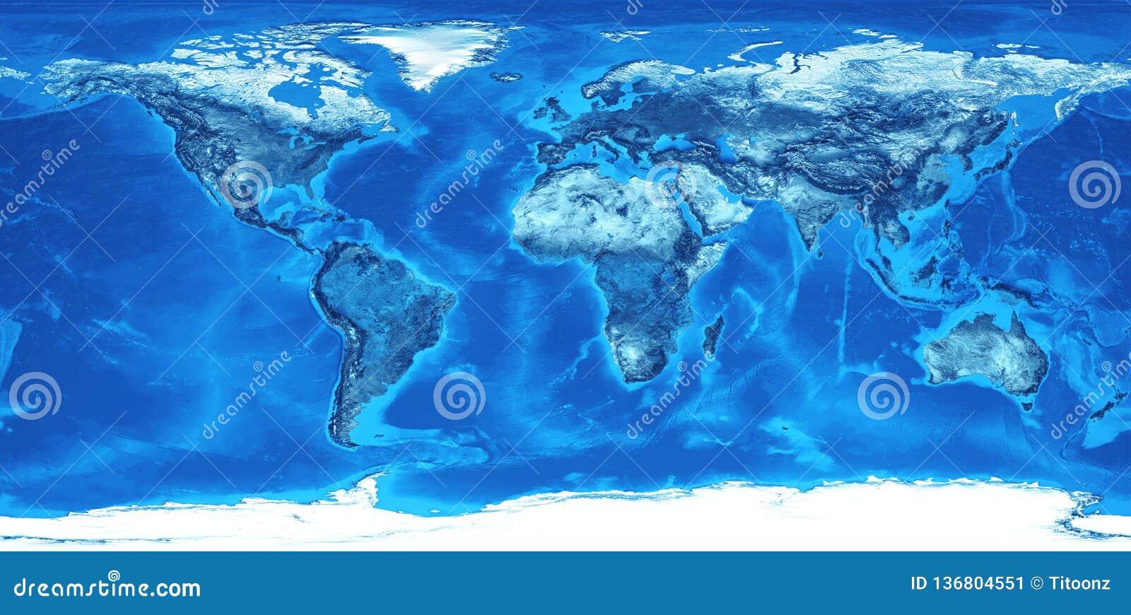 High Resolution World Map In Blue Stock Illustration ...