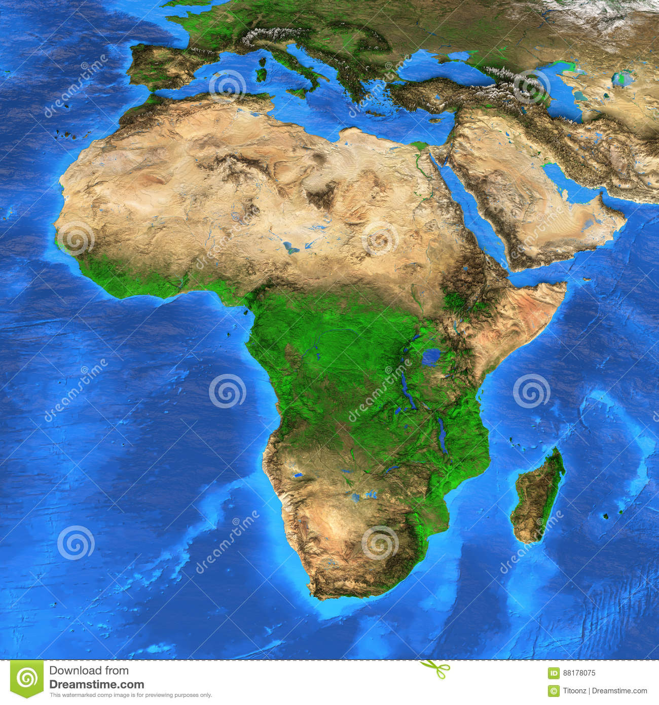 High Resolution World Map Focused On Africa Stock Image Image Of