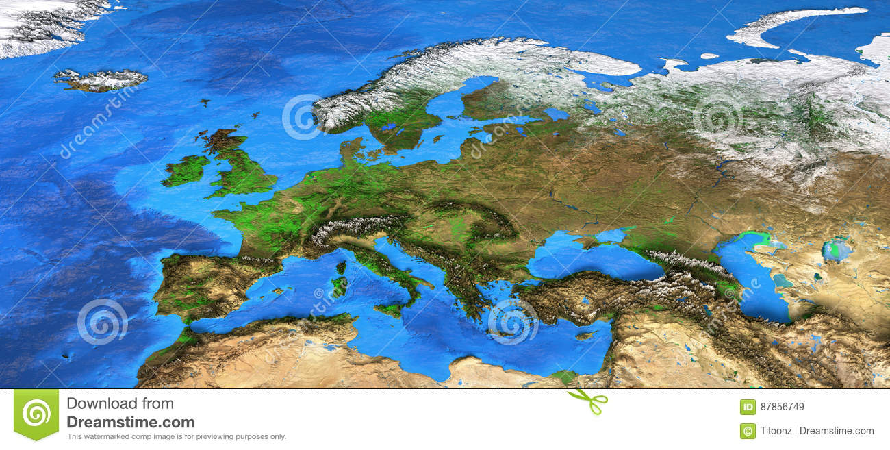 High Resolution World Map Focused On Europe Stock Image Image Of