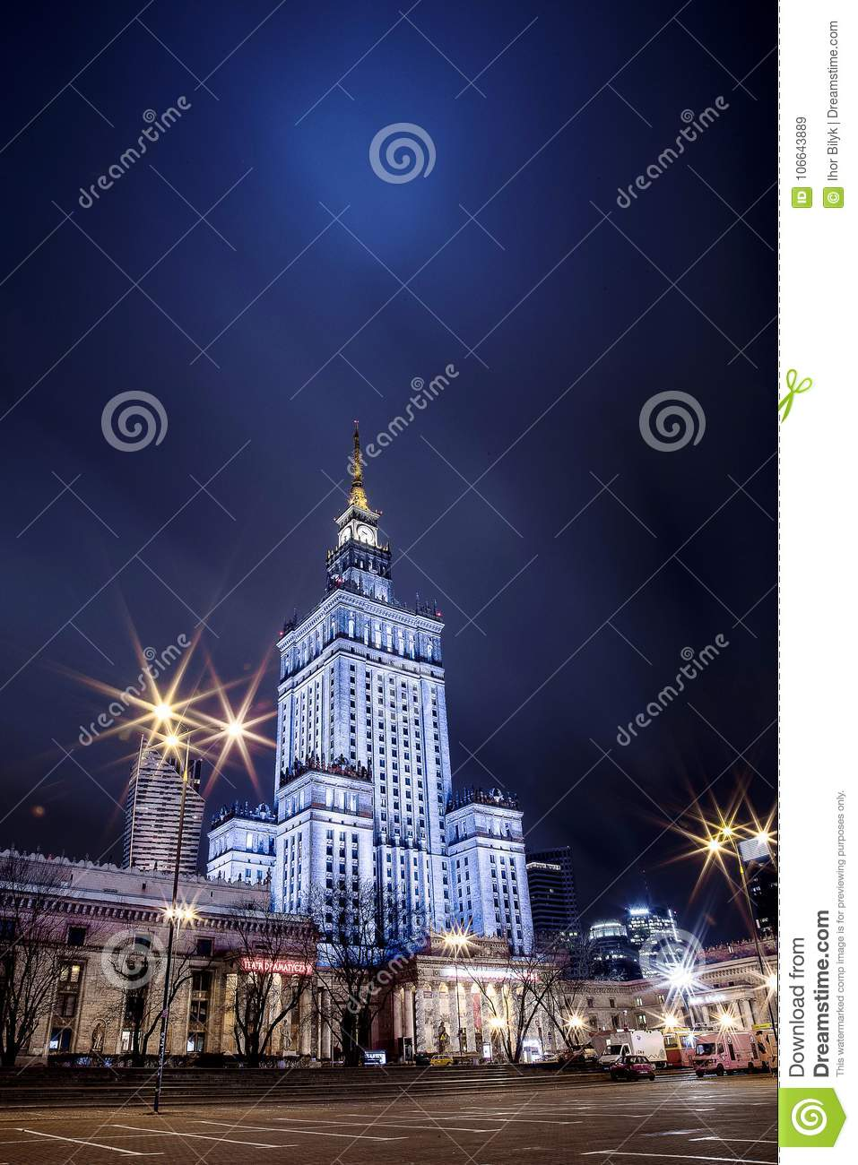 High-rise building. Center of Warsaw Night city. Warszawa. Poland. Polska. Palace of Culture and Science.