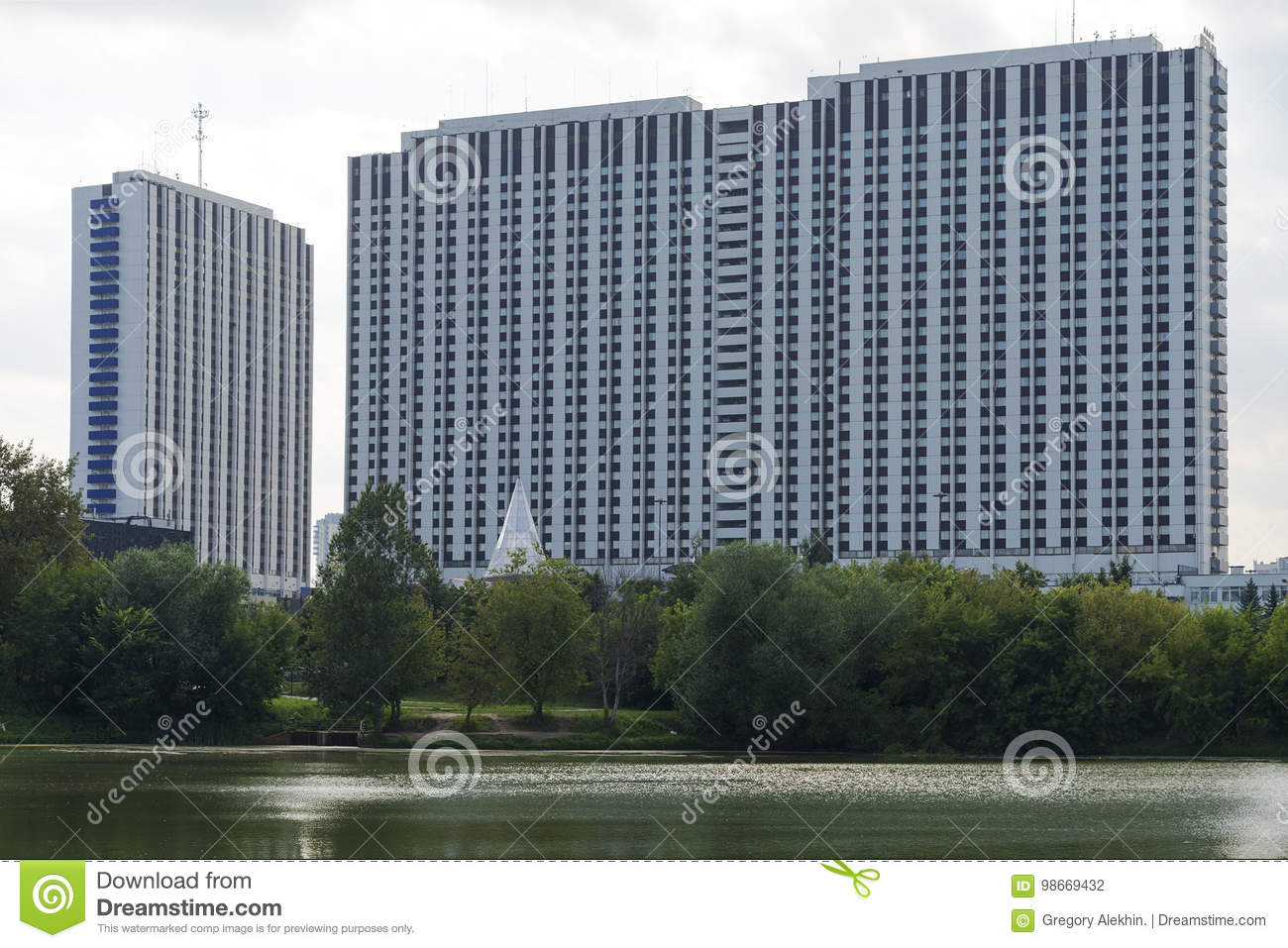 High-rise building by the river in Moscow.