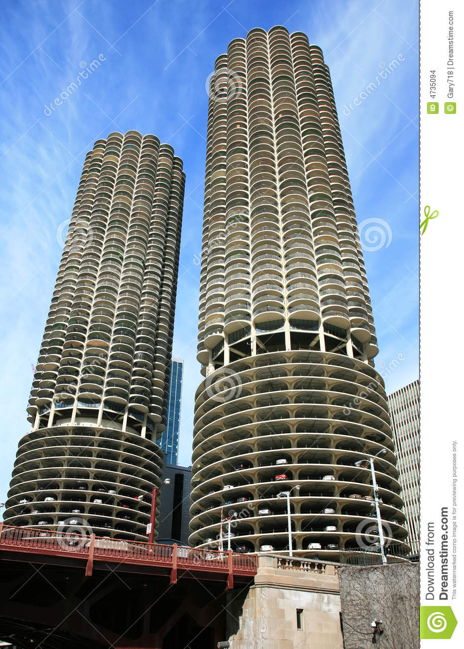 Chicago High Fashion Editorial: The High-rise Buildings In Chicago Stock Images