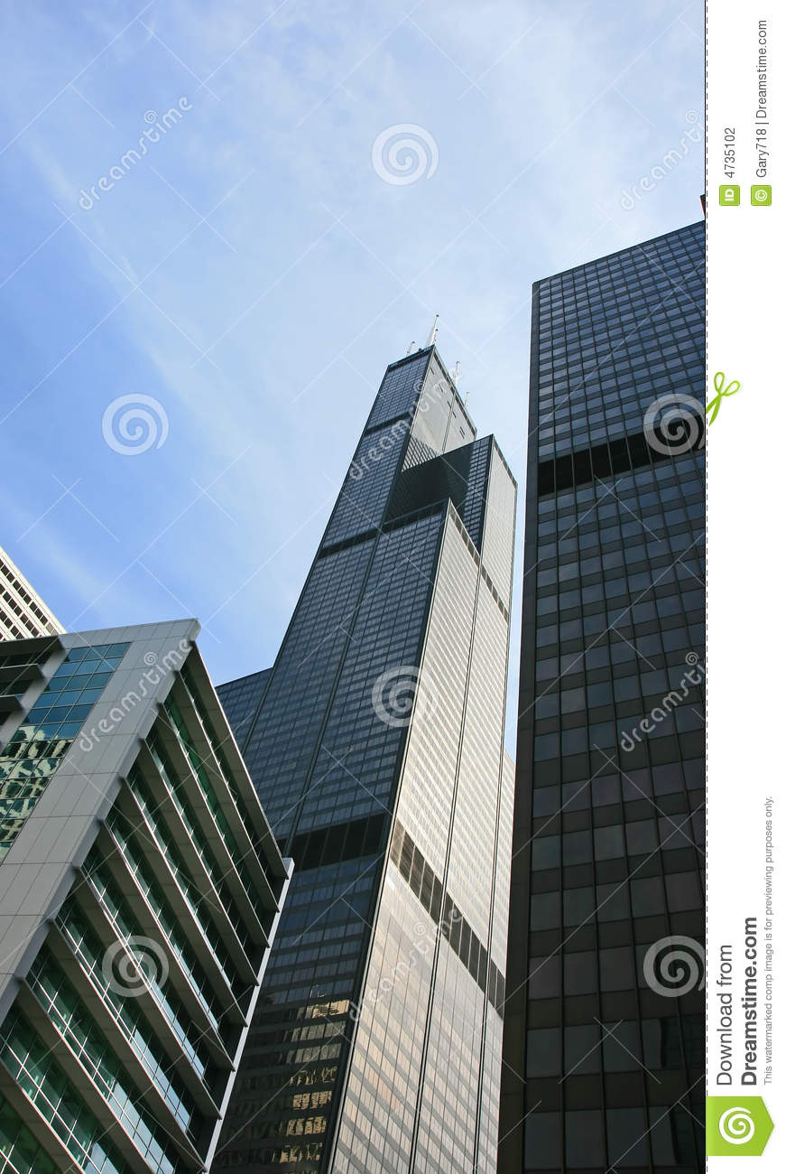 Chicago High Fashion Editorial: The High-rise Buildings In Chicago Stock Photo