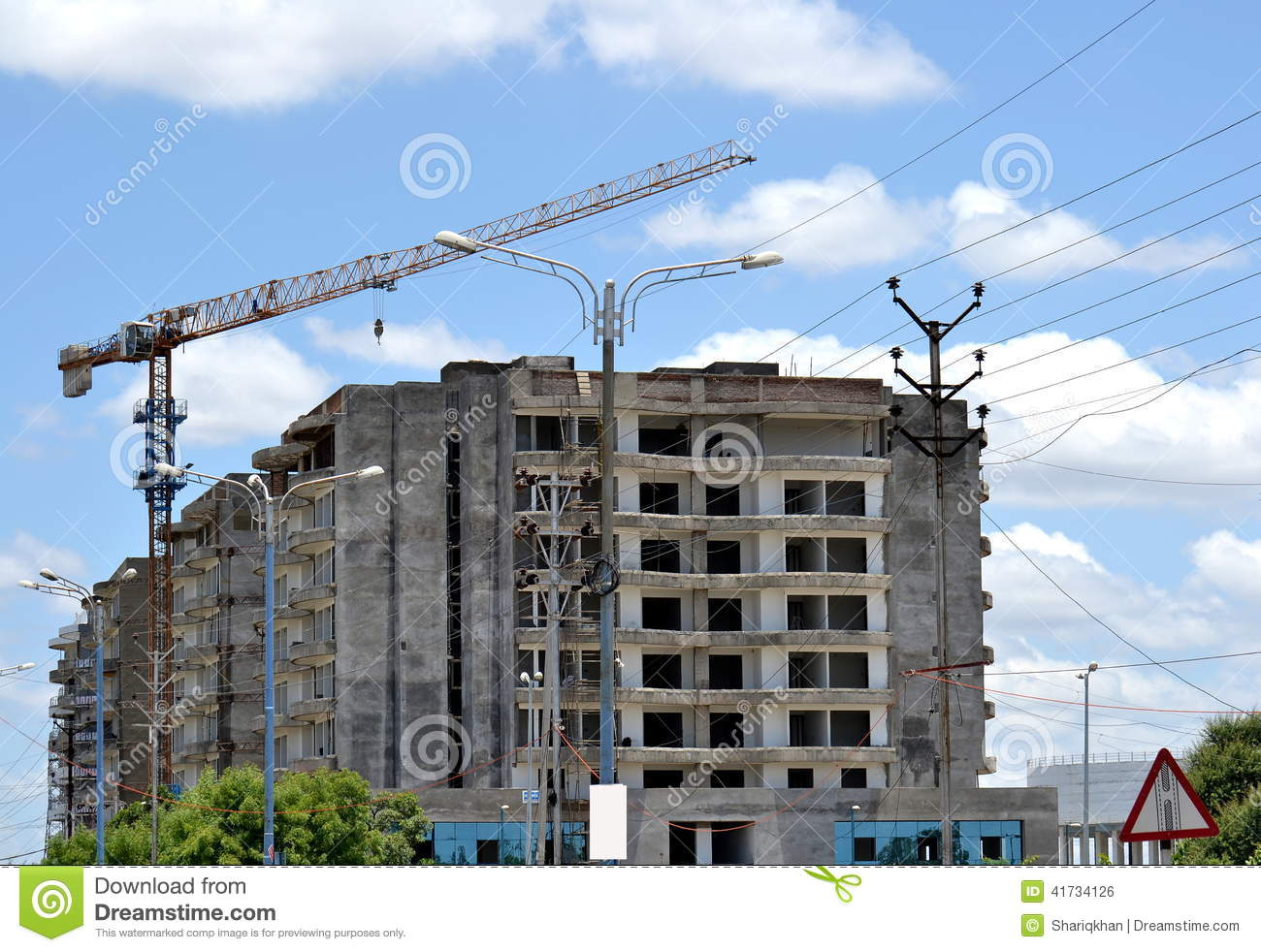 building construction site and crane stock photo image 41734126