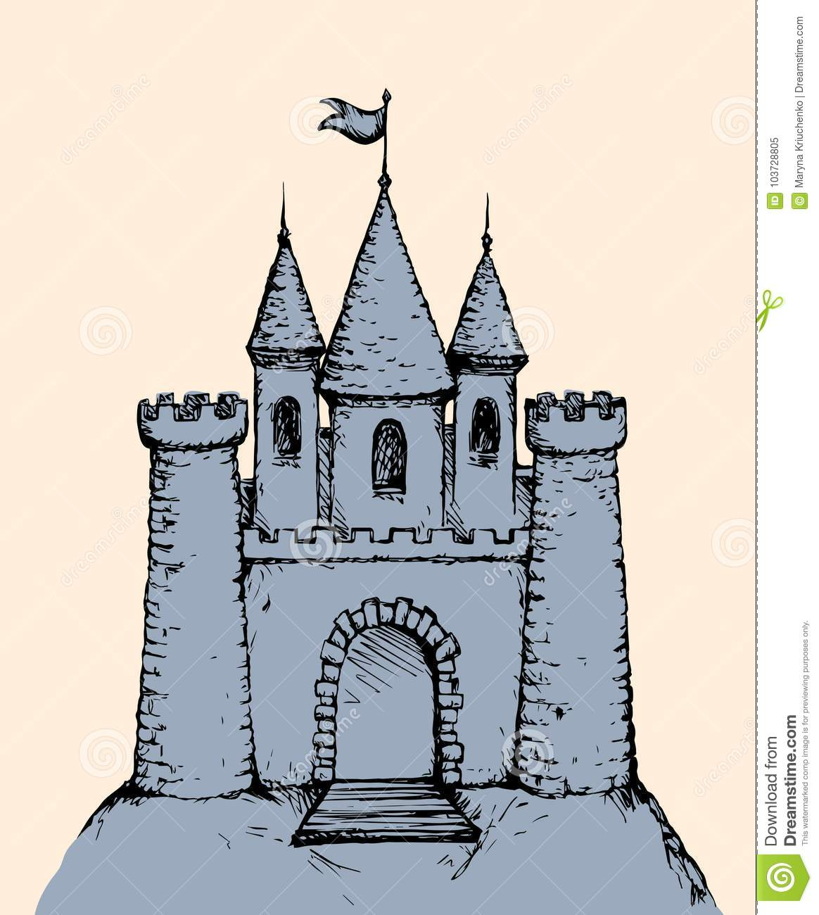 Castle Vector Drawing Stock Vector Illustration Of Fairytale