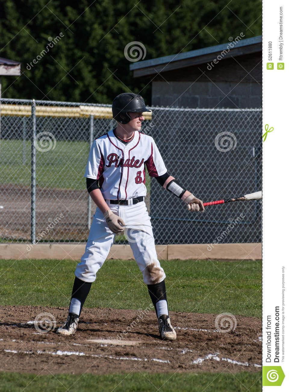 A High School Baseball Player Up To Bat. Stock Photo ...