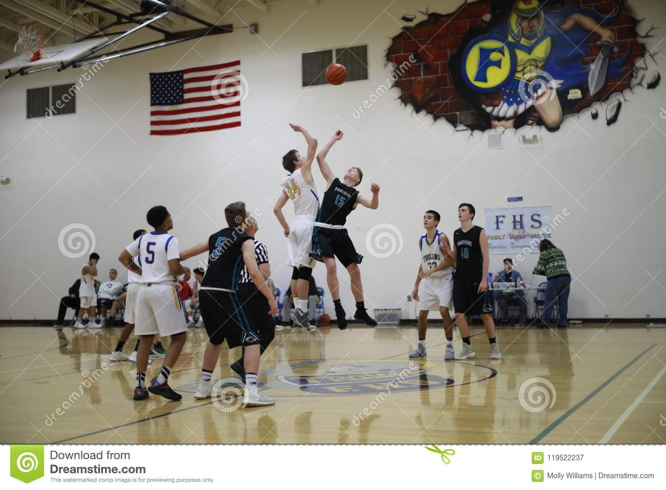 High school basketball court images