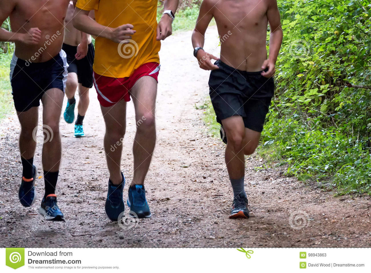 high school boys cross country runners running on a path stock image
