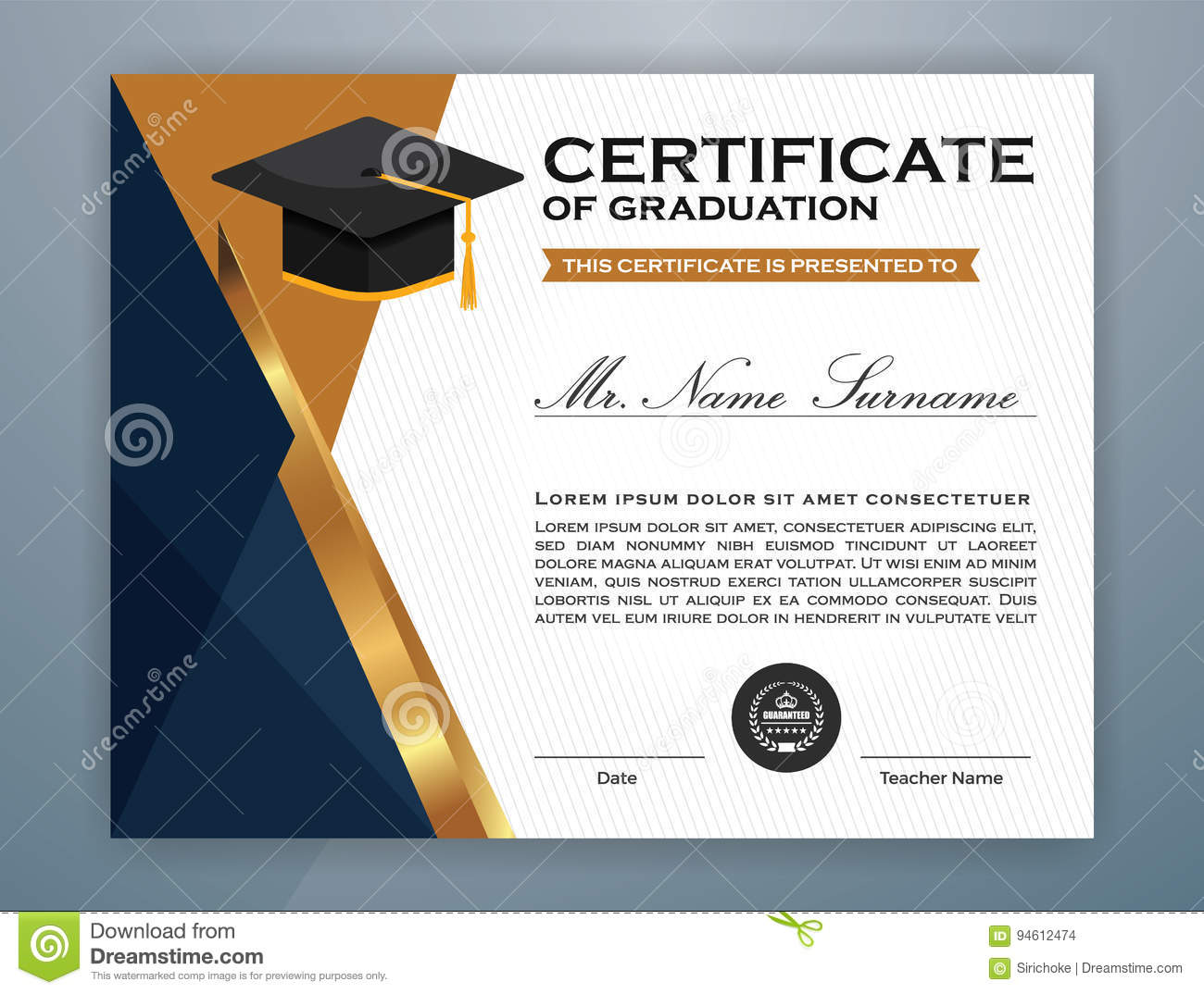 High school diploma certificate template stock vector high school diploma certificate template yelopaper Image collections