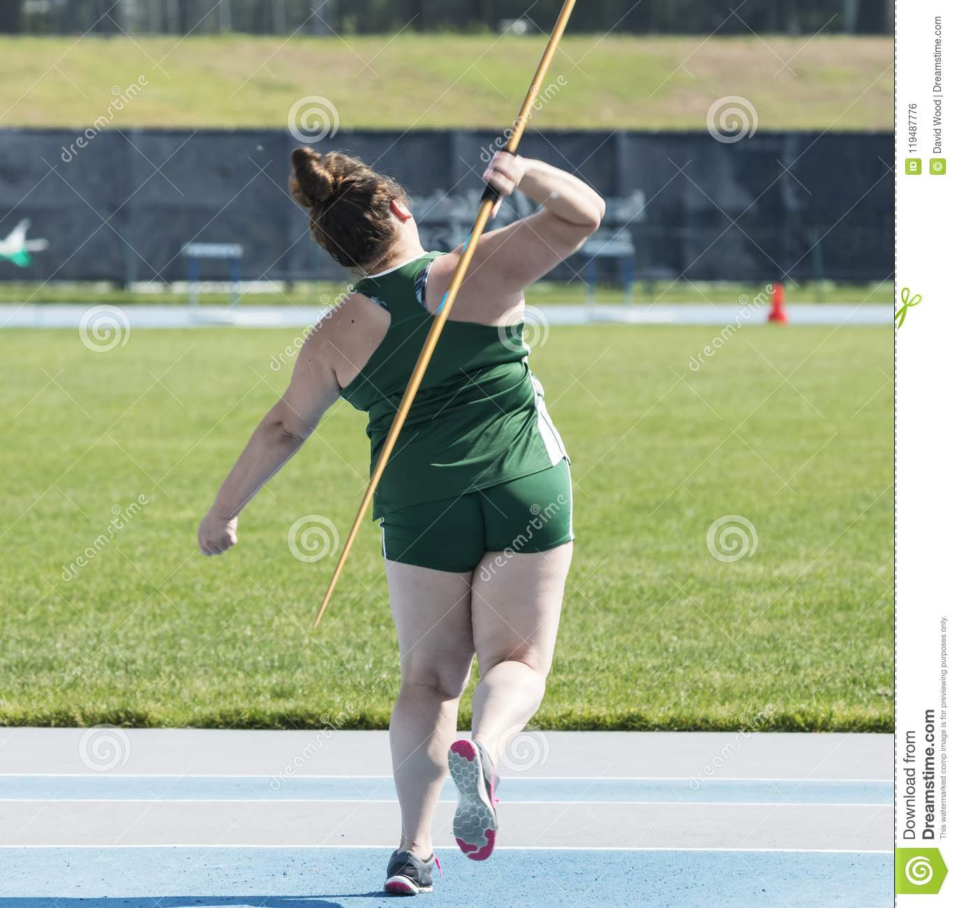 High School Female Throwing A Javelin Editorial Photo