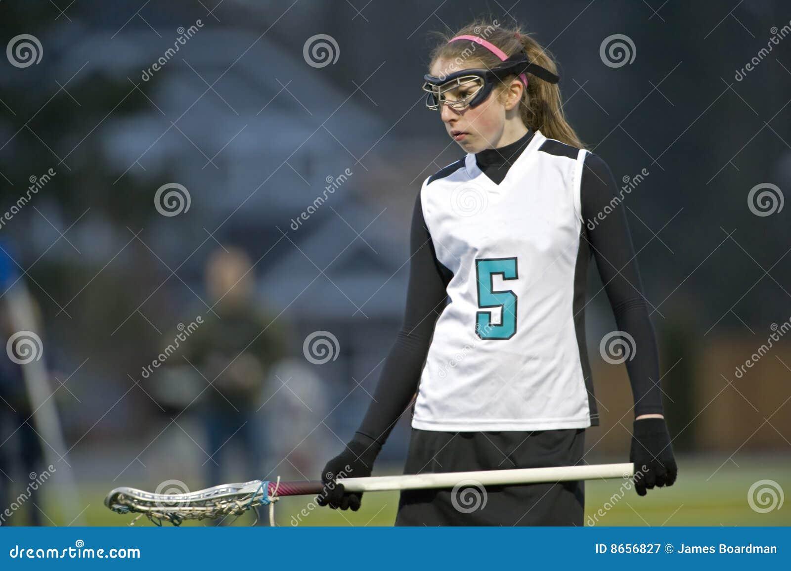 High School Girls Lacrosse Night Game Stock Image - Image ...