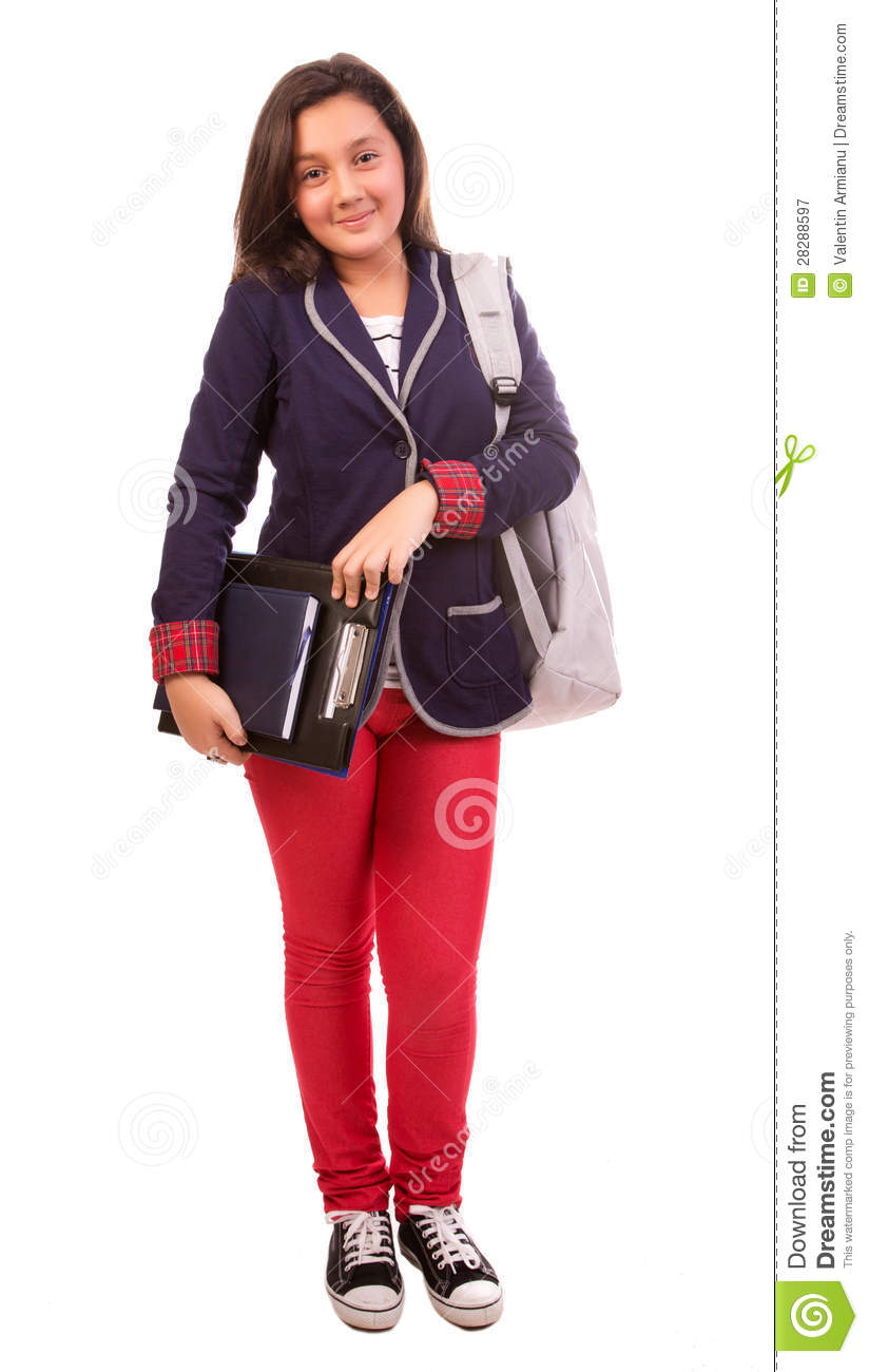 High school student, isolated portrait of young casual female student ... Happy High School Student Clipart