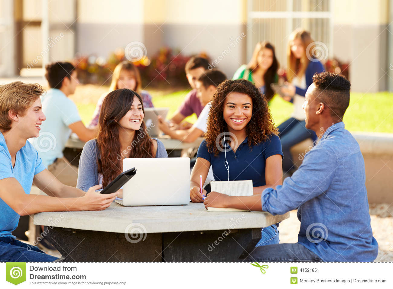 high school students hanging out campus outside using laptop 41521851 Key Details In bid4papers reviewingwriting   Whats Needed