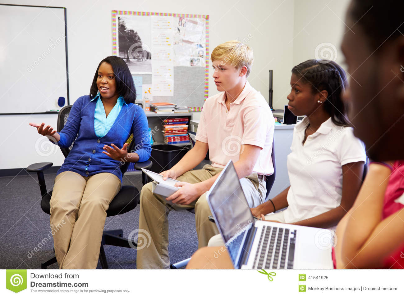 High School Students Taking Part In Group Discussi Stock Photo - Image: 41541925