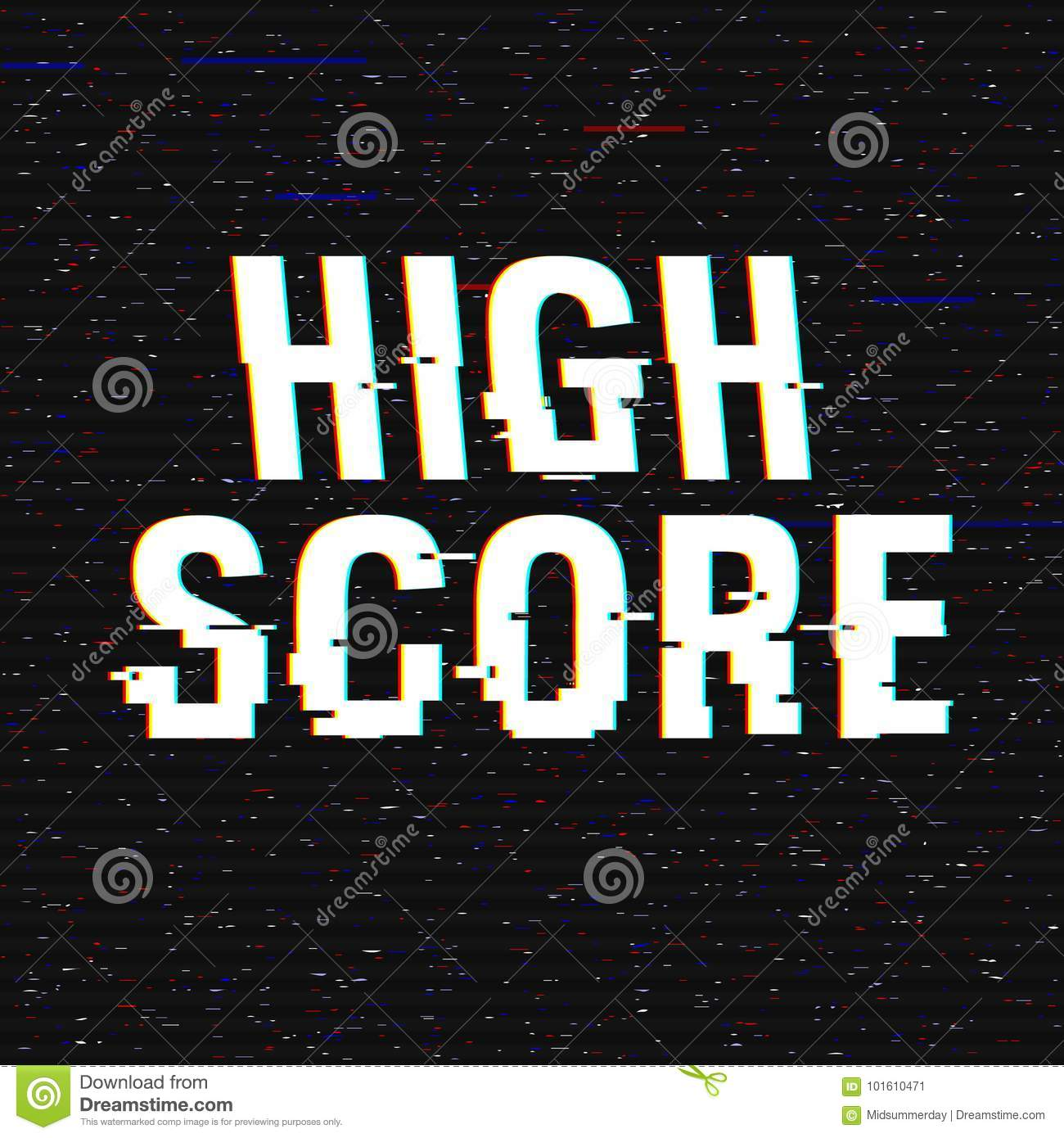 High Score glitch text. Anaglyph 3D effect. Technological retro background. Vector illustration. Creative web template