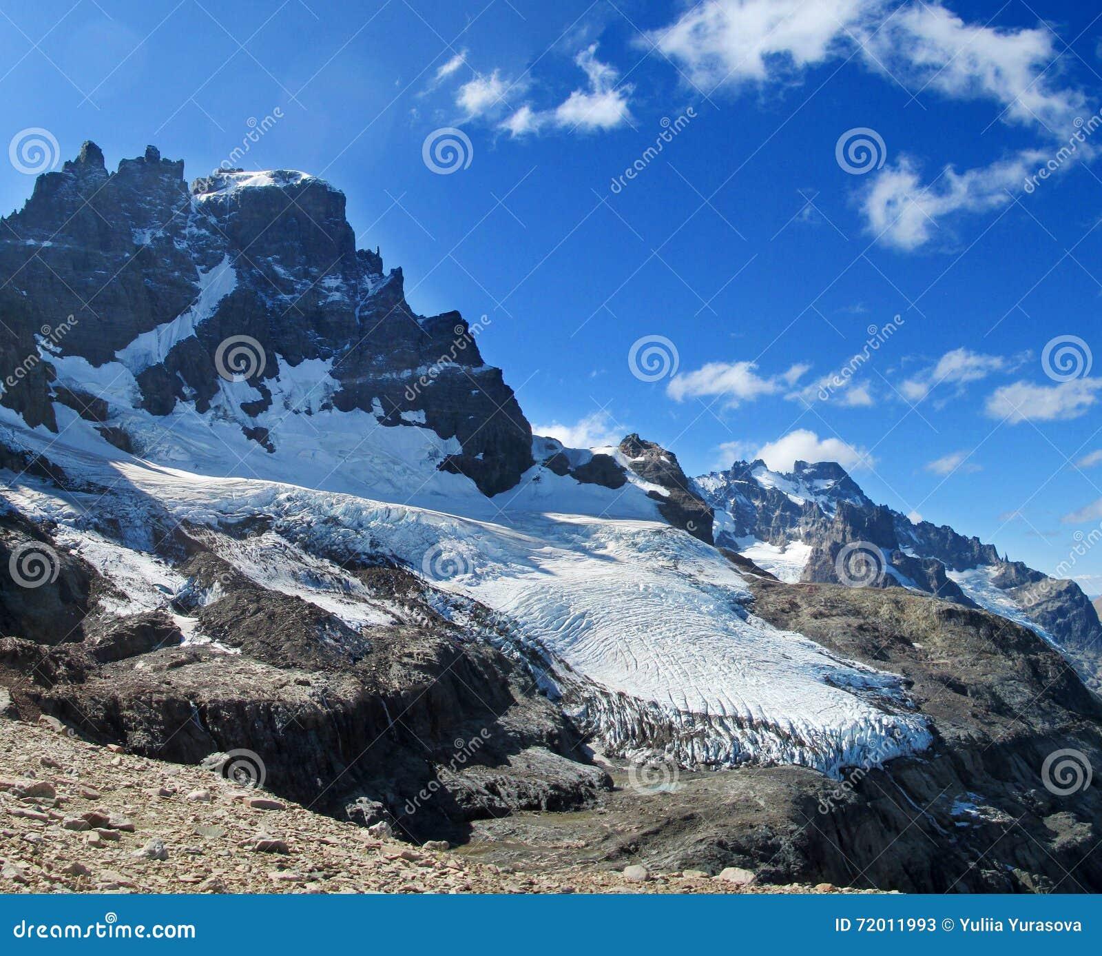 High snow and rocky mountain Cerro Castillo in Chile Patagonia