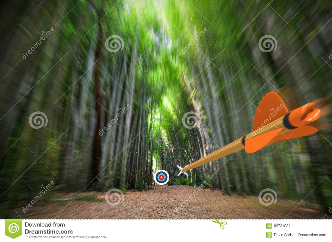 La méditation sur son propre esprit. Le niveau supérieur du degré 1 High-speed-arrow-flying-blurred-bamboo-forest-archery-target-focus-part-photo-part-d-rendering-shooting-concept-93721034
