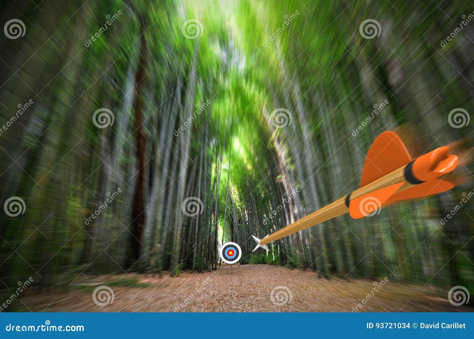 La méditation sur son propre esprit. Le niveau supérieur du degré 1 High-speed-arrow-flying-blurred-bamboo-forest-archery-target-focus-part-photo-part-d-rendering-shooting-concept-93721034