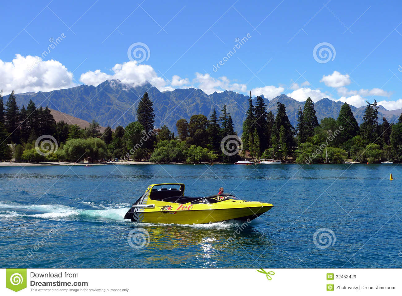 High Speed Jet Boat On The Lake Wakatipuin The South ...