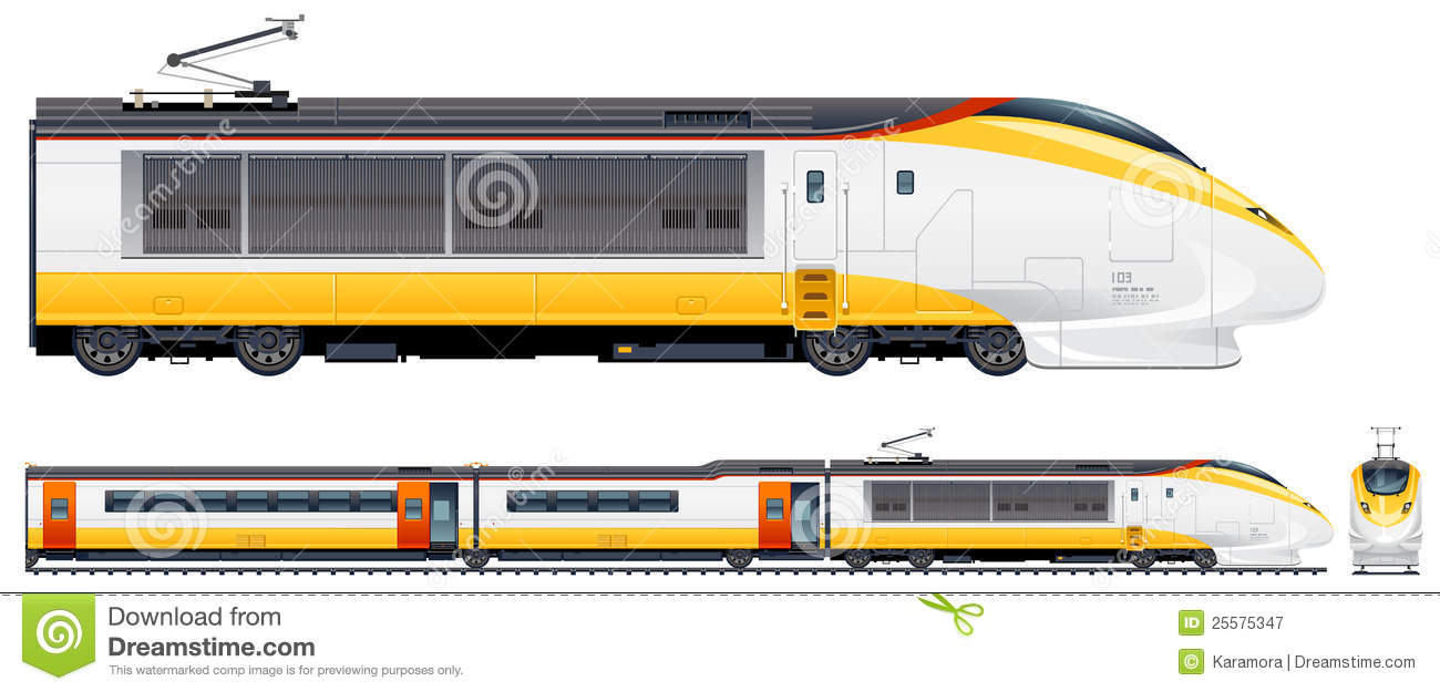High-speed passenger train in vector. Pixel optimized. Elements ...