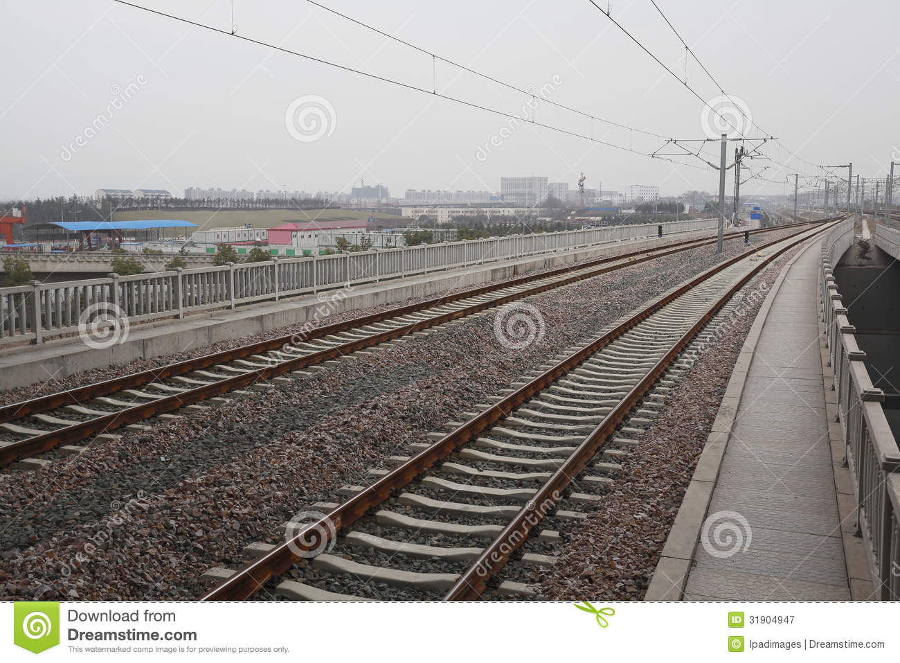 High-speed Rail At Railroad Metal Track With Track Royalty ...