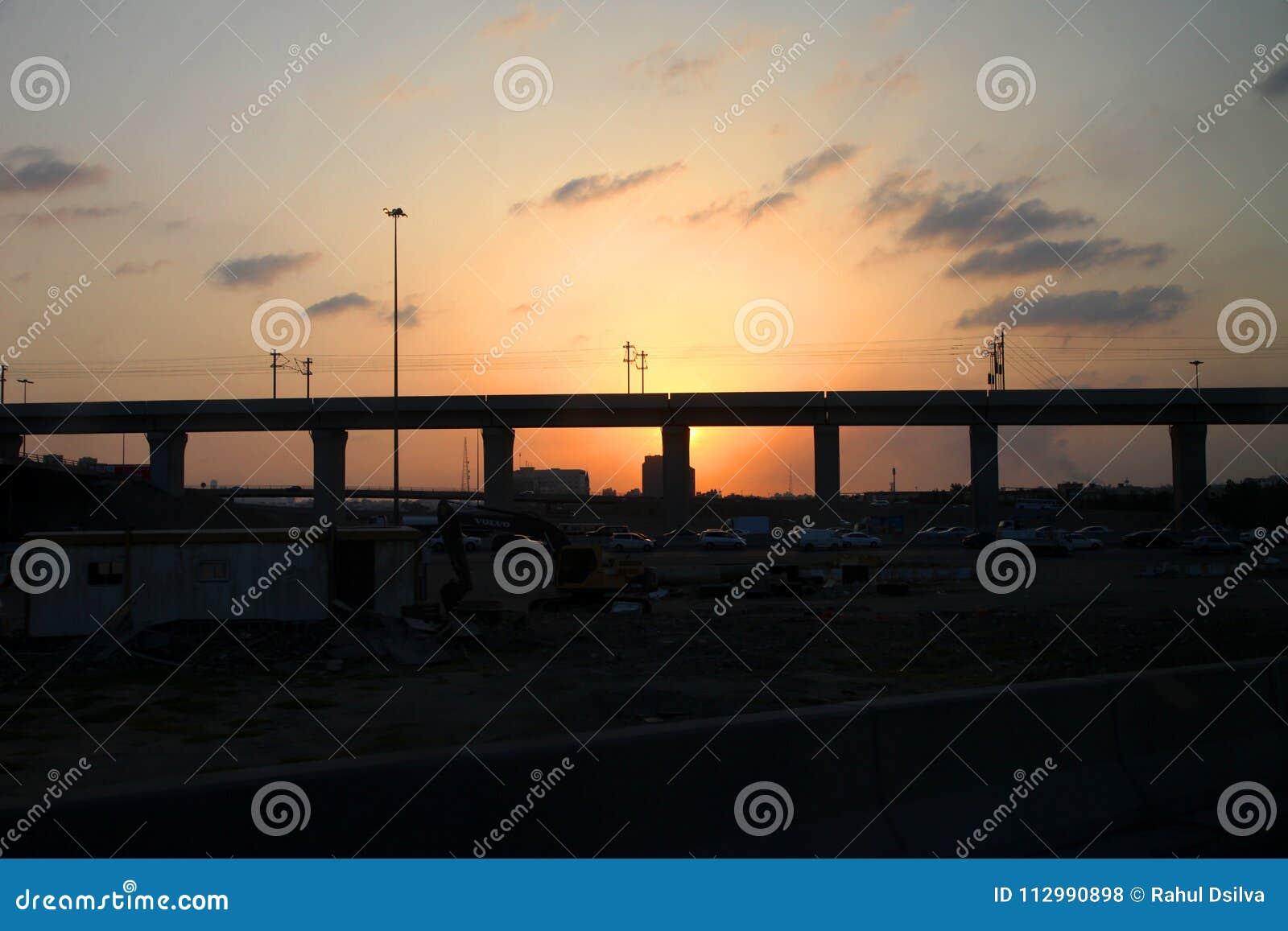 High speed railway jeddah in the sunset