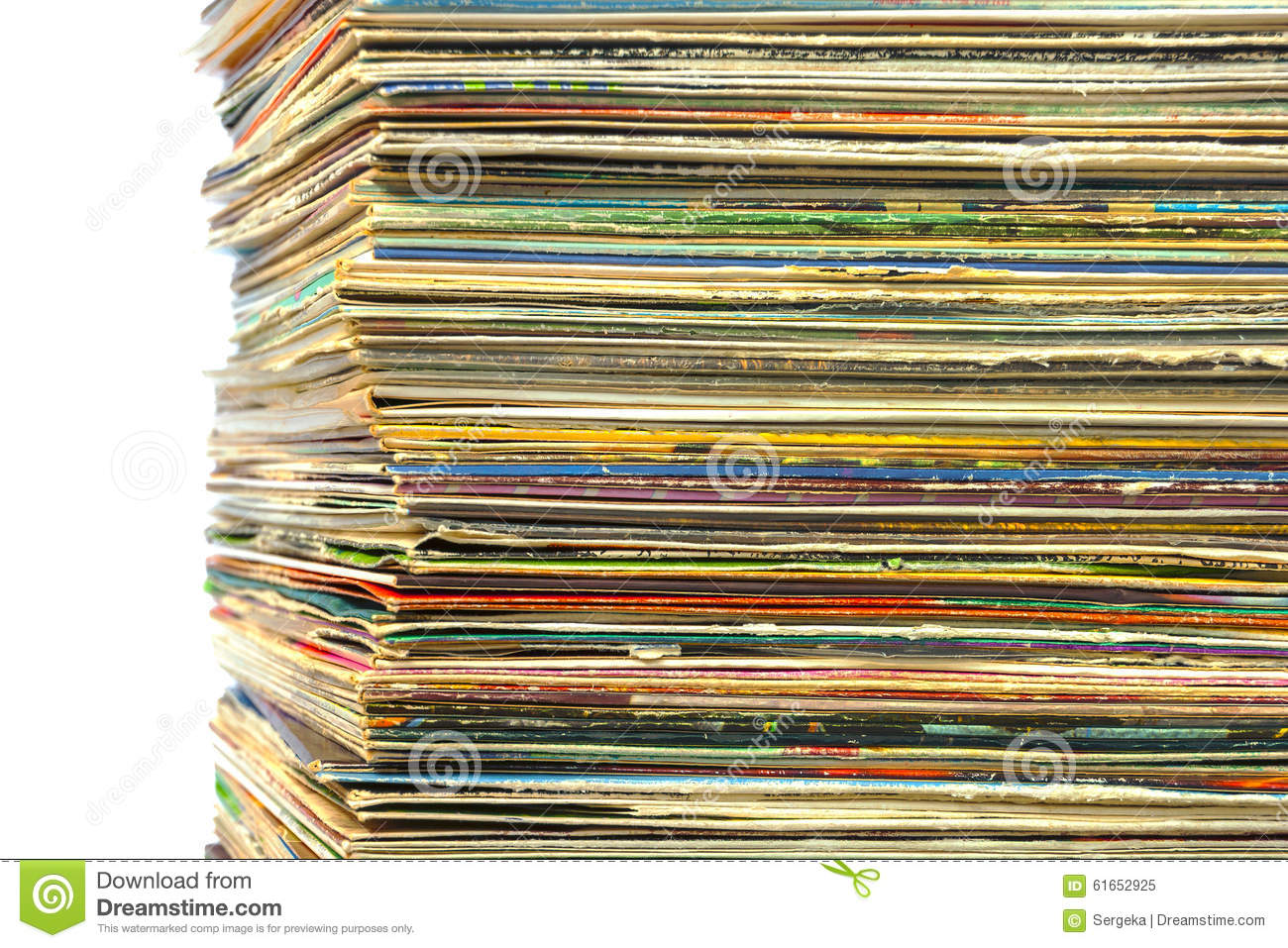 High Stack Of Old Vinyl Records Stock Photo Image 61652925