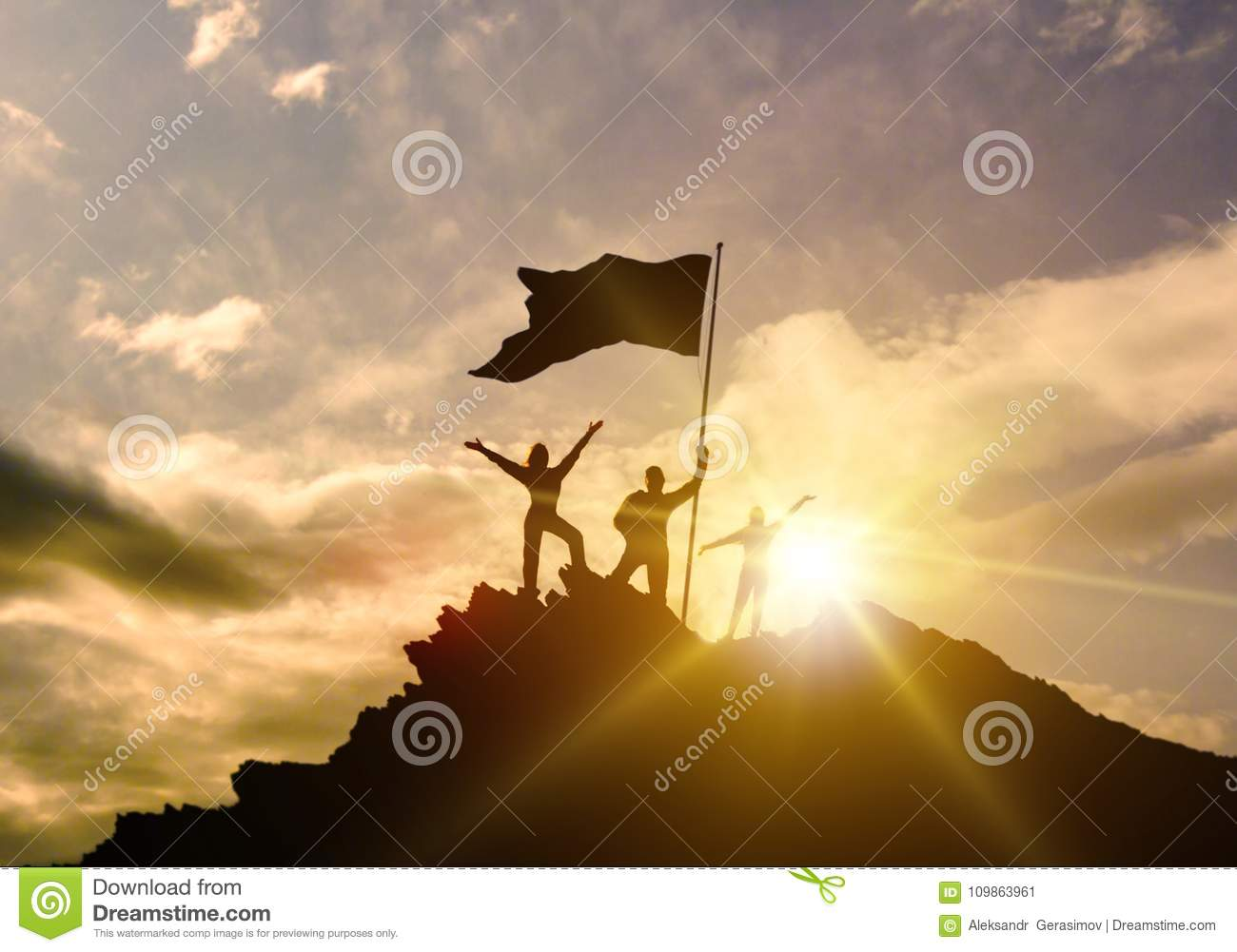 High success, family three silhouette, father of mother and child holding flag of victory on top of mountain, hands up.