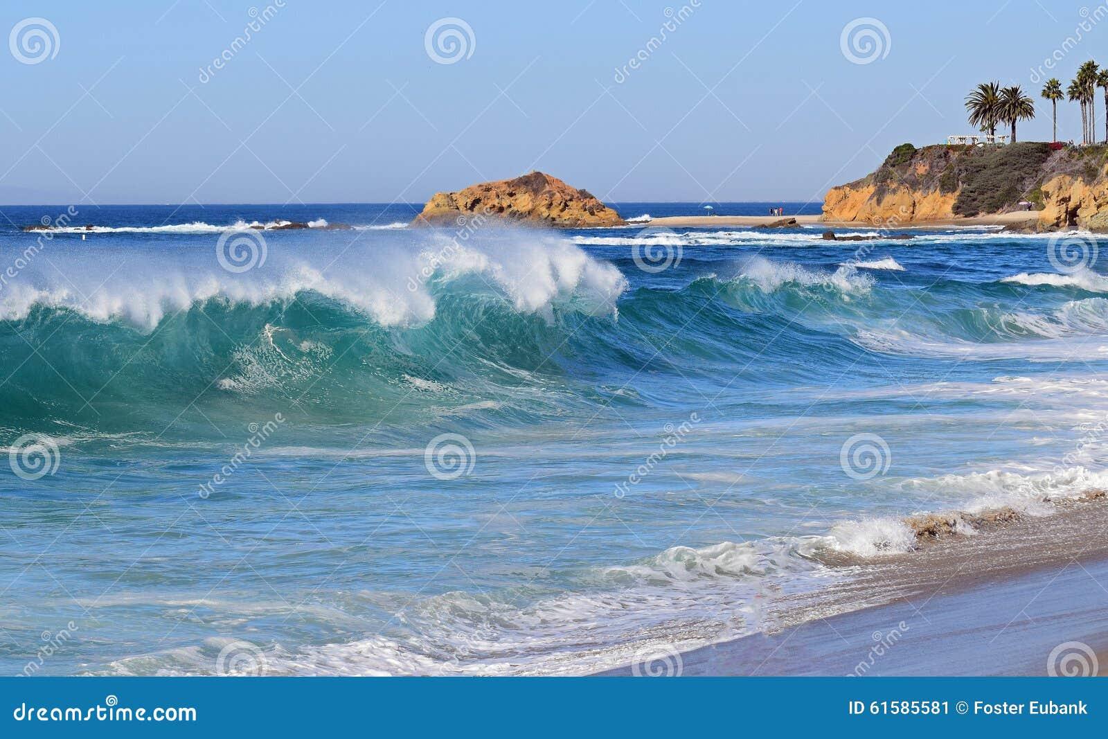 High surf at Aliso Beach in South Laguna Beach, California.