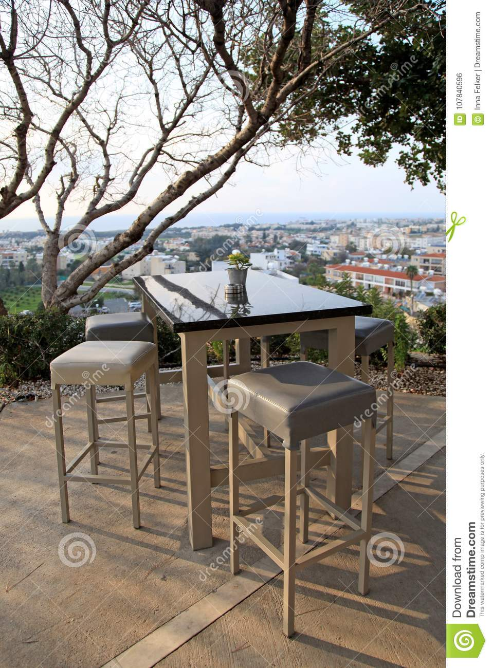Groovy High Table And Chairs In Outdoor Cafe Cyprus Stock Photo Machost Co Dining Chair Design Ideas Machostcouk