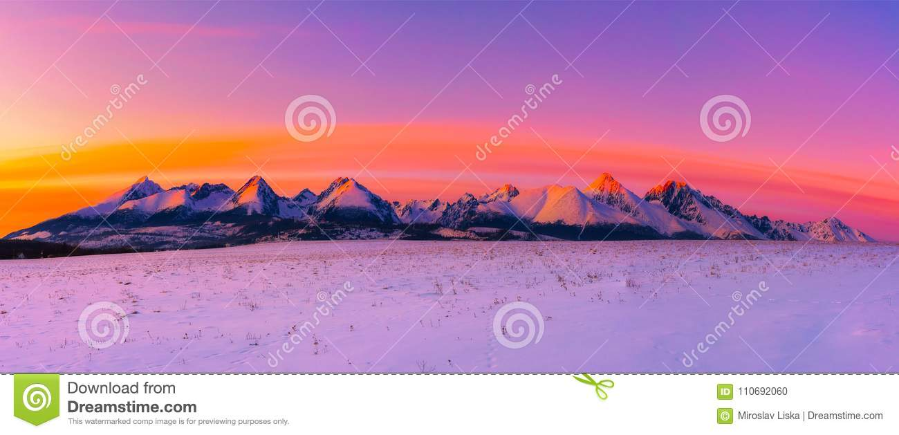 High Tatra Mountains in winter at sunset