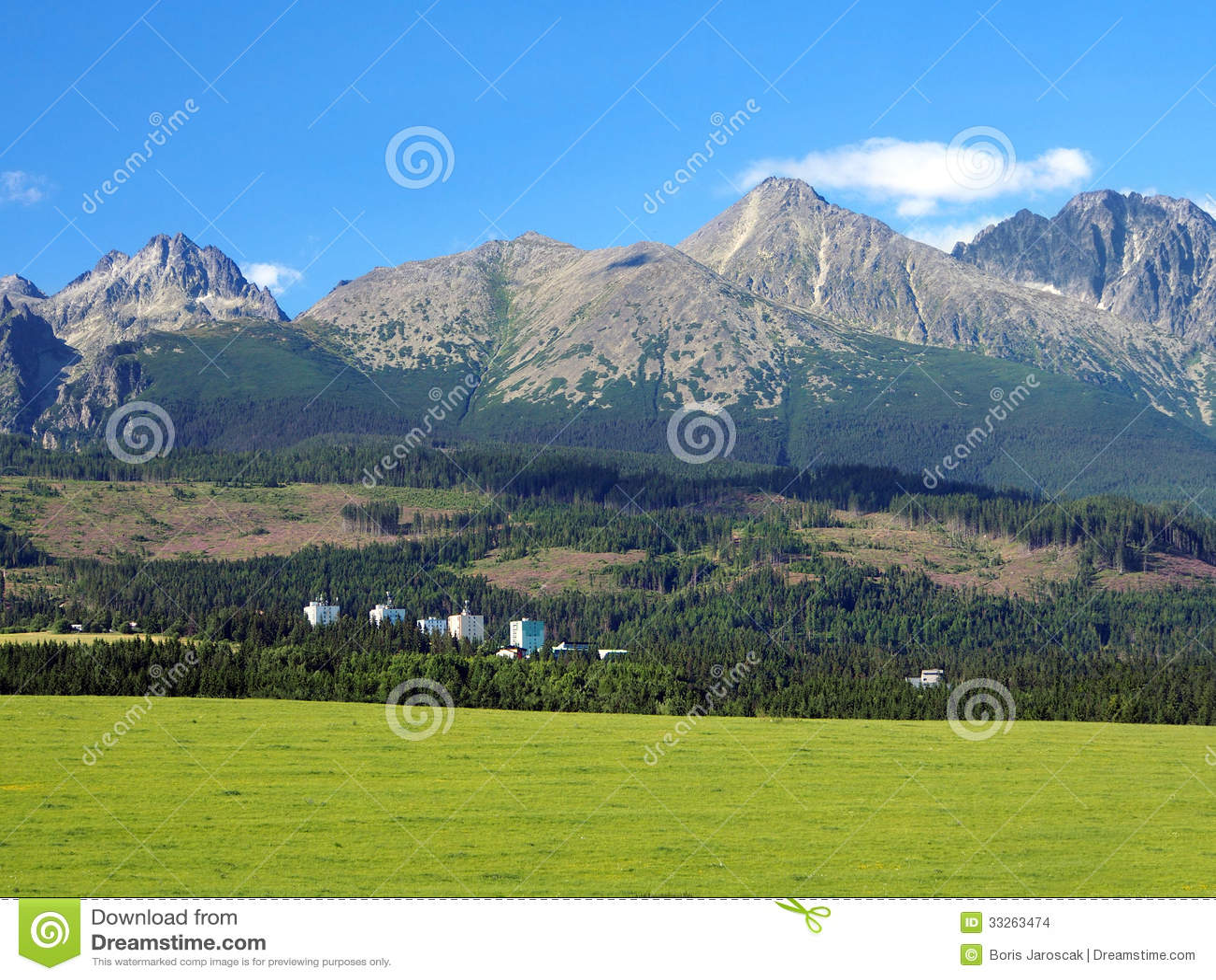 High Tatras and meadow in Slovakia