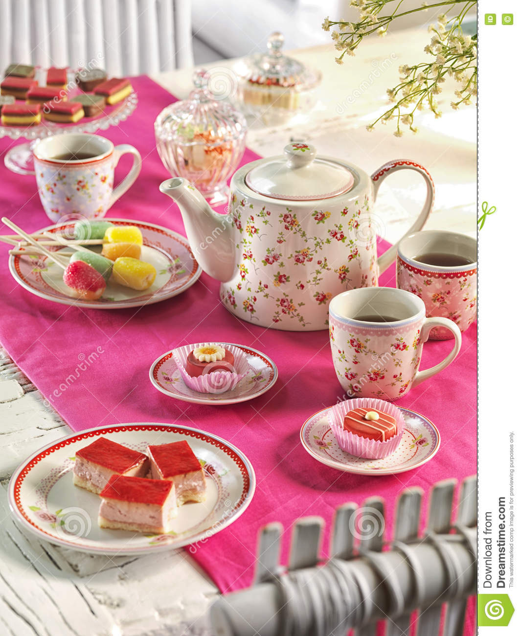 High Tea Birthday Party Table Setting With Food Stock