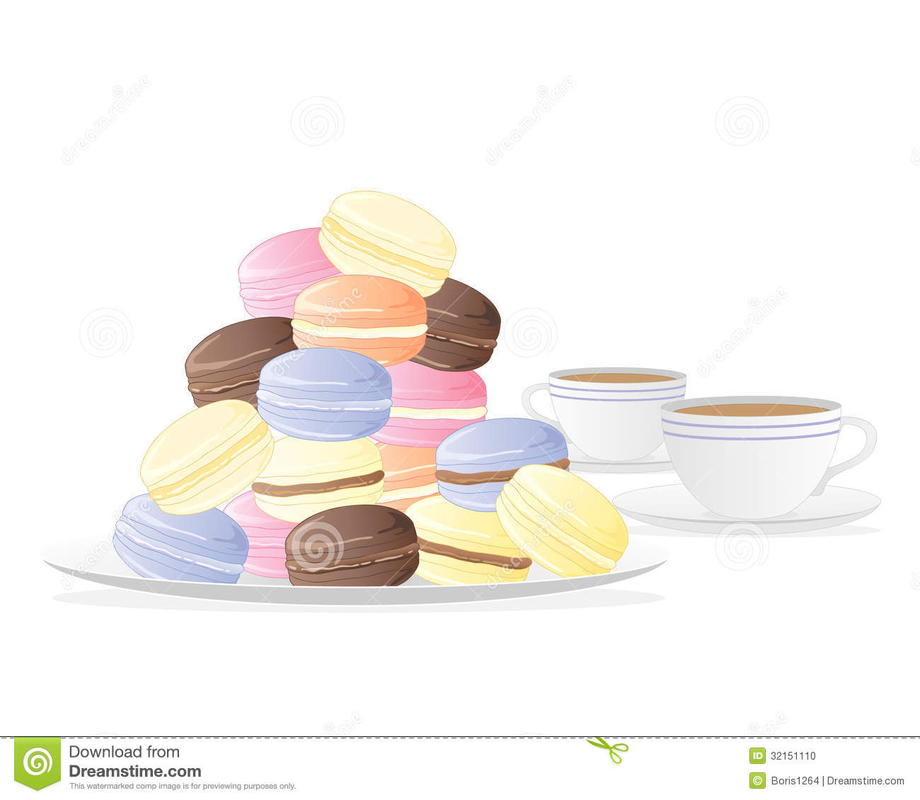 An illustration of a plate of meringue macaroons with two cups of tea
