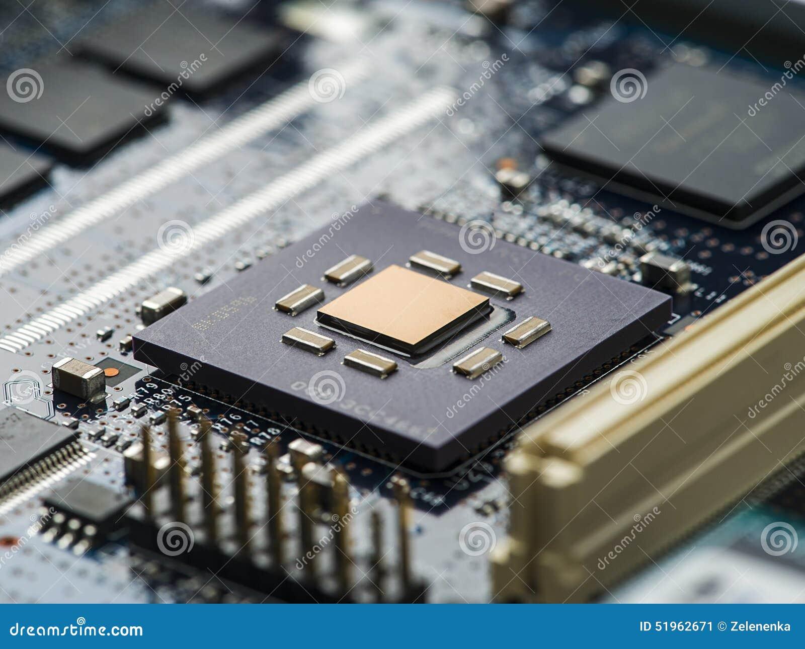 high tech circuit board close up  macro  concept of
