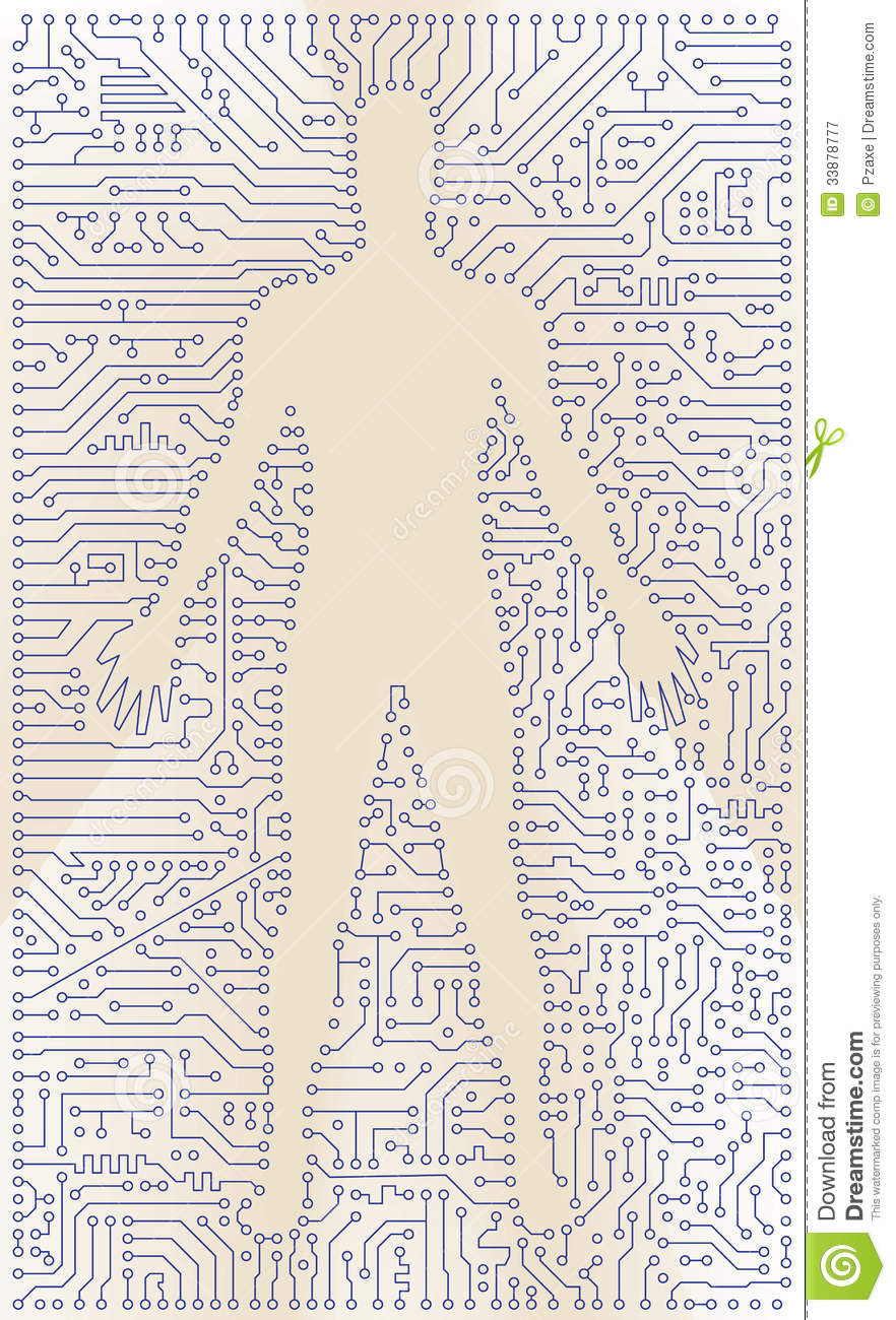 high tech circuit board man silhouette vector com stock. Black Bedroom Furniture Sets. Home Design Ideas