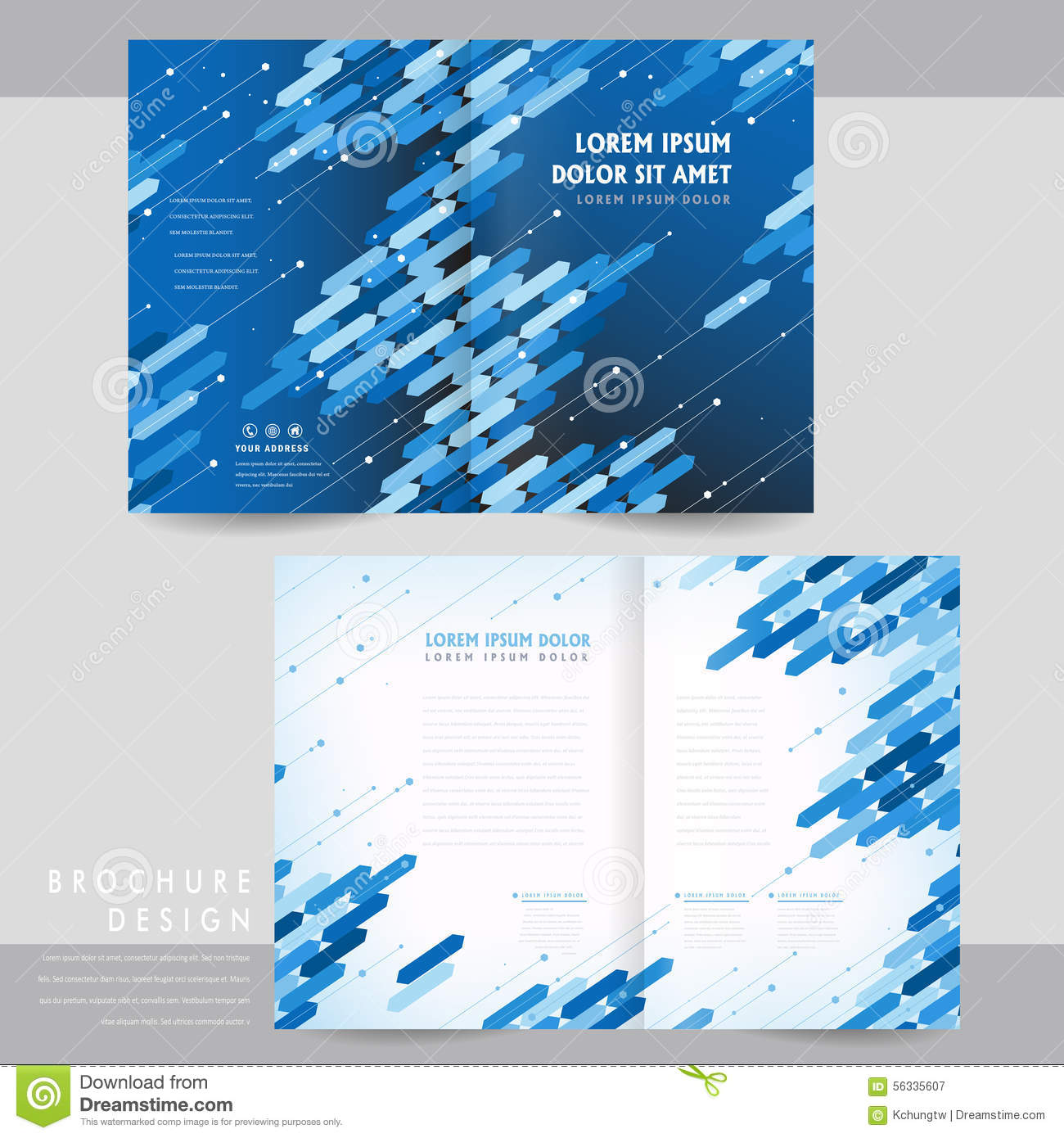 Hightech Halffold Brochure Template Design Stock Vector - Half fold brochure template free