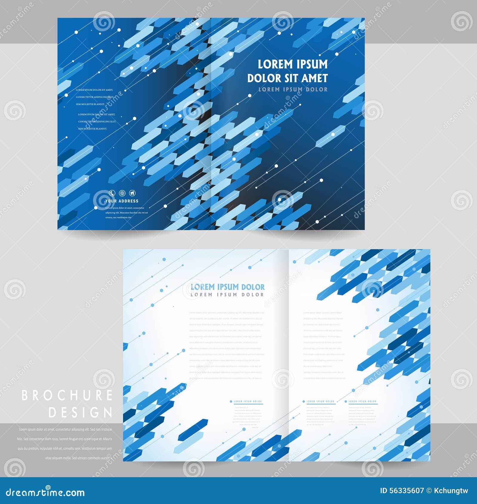 high tech half fold brochure template design stock vector