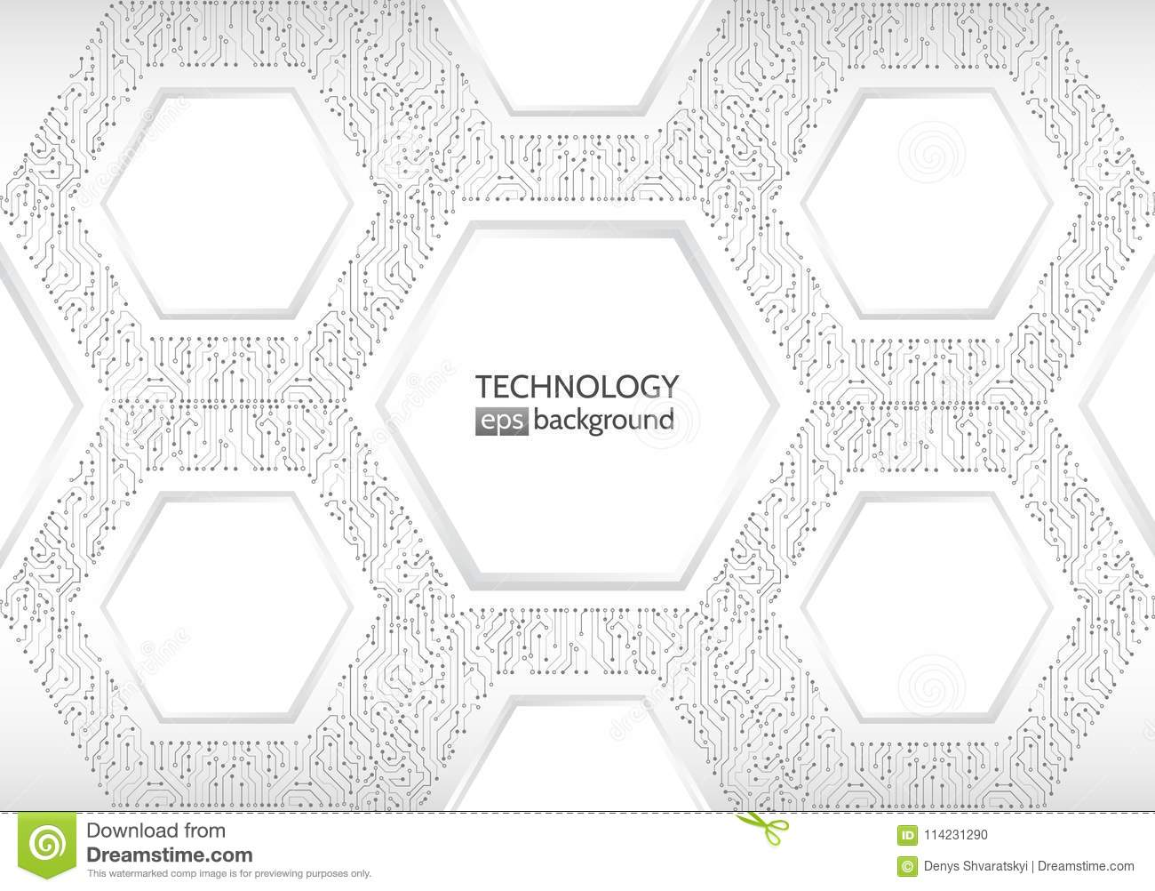 computer circuit hexagon electronic component vector illustration