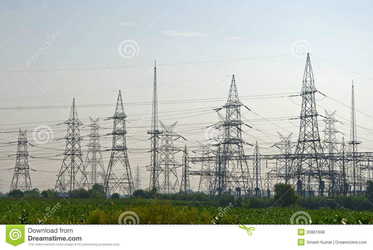 High Tension Wires | High Tension Wire Polls Stock Photo Image Of Dawn High 20861698