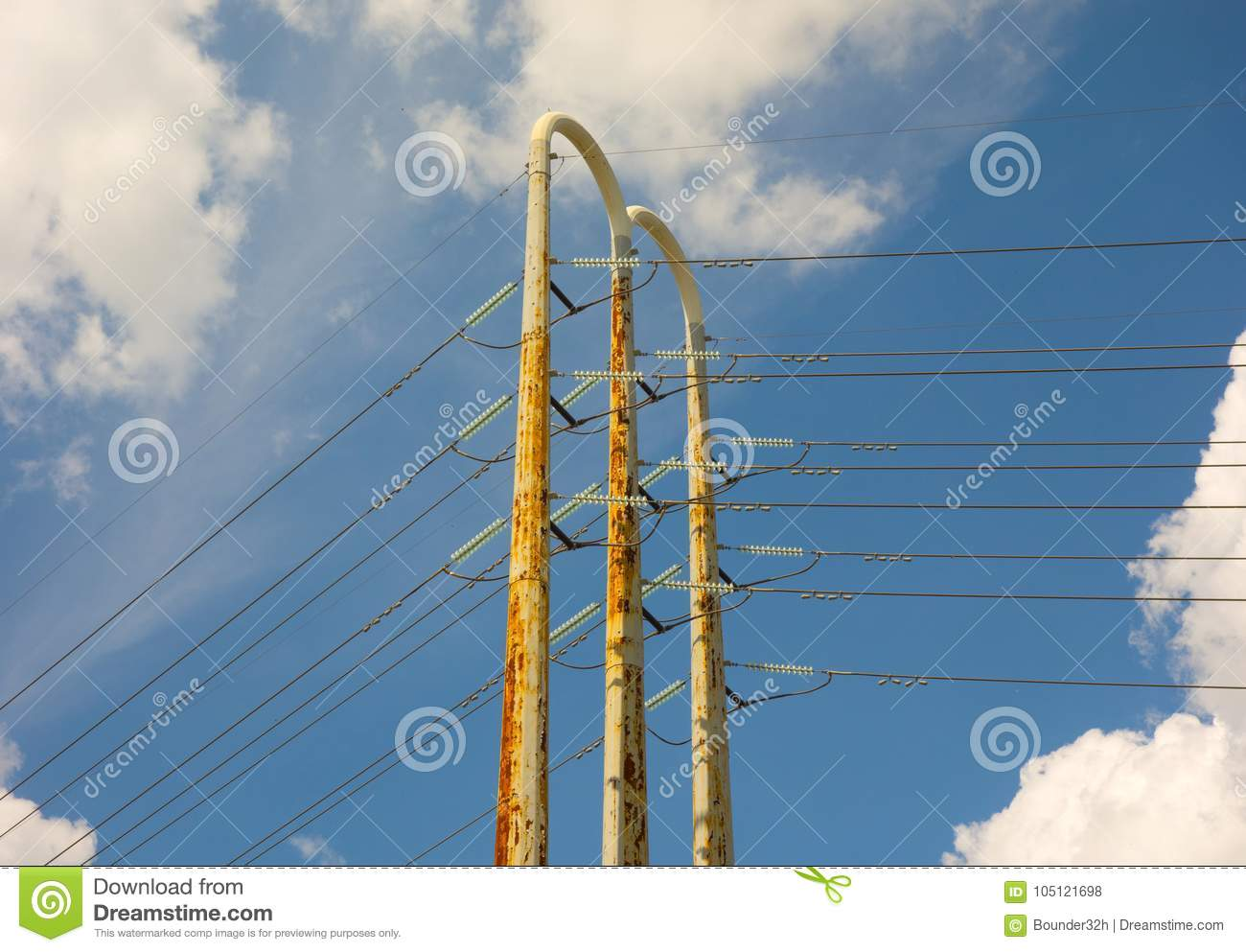 High Tension Wires Against A Blue Summer Sky Stock Photo - Image of ...