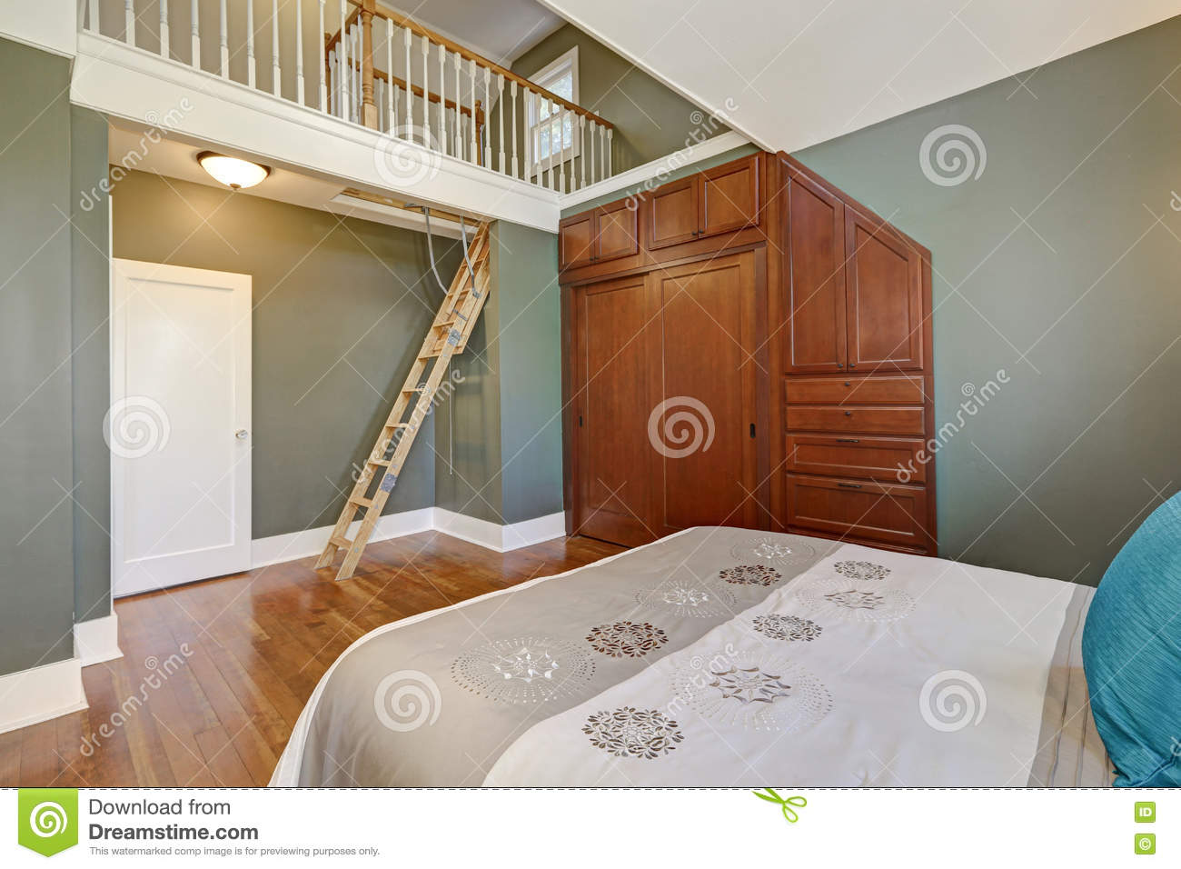 high vaulted ceiling bedroom interior design stock photo image of