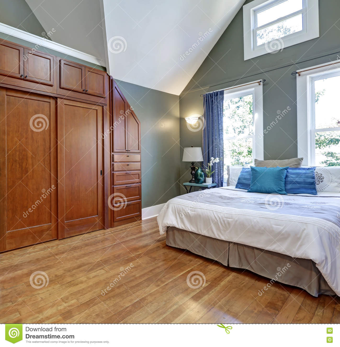 High vaulted ceiling bedroom interior design stock photo for Big bedroom interior design