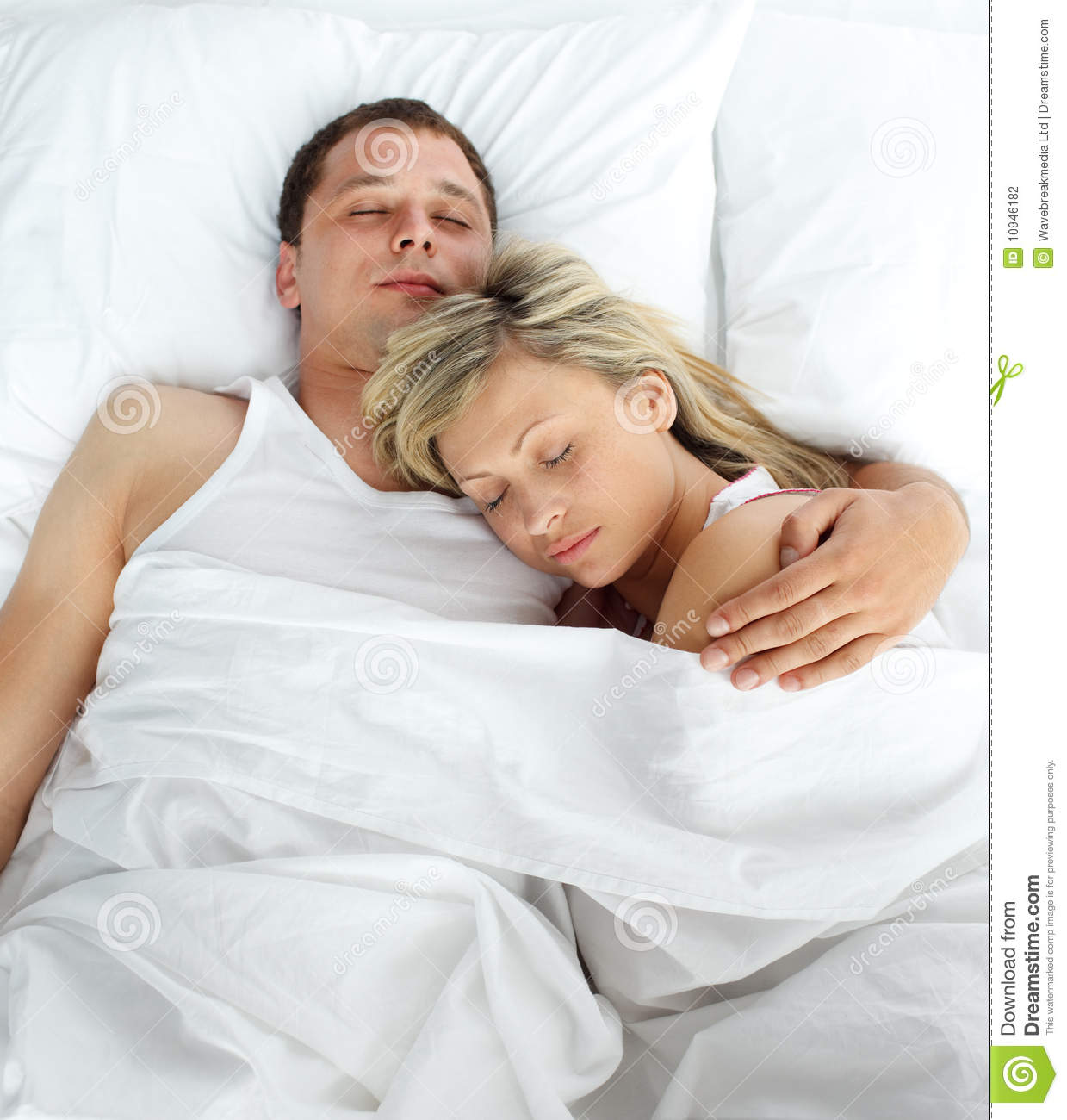 Royalty Free Stock Photo. High View Of Couple Sleeping In Bed Stock Photography   Image