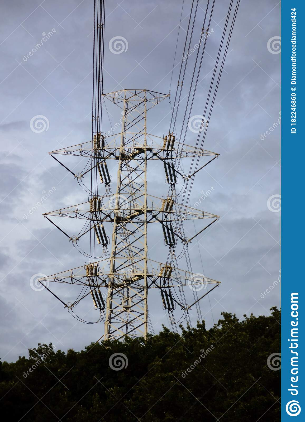High Voltage Bolt Transmission Line Tower Stock Photo Image Of Business Transmission 182246860