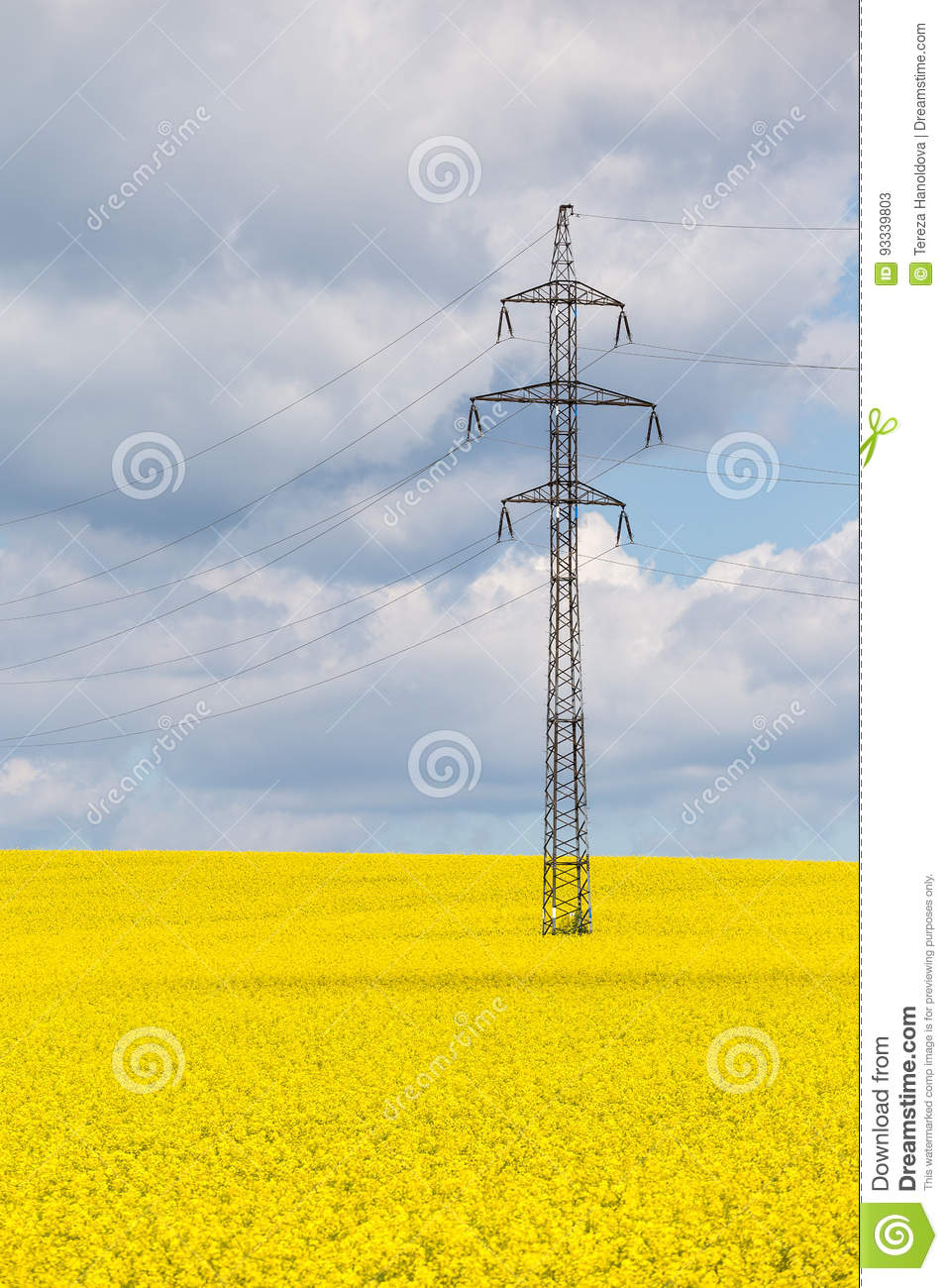 High voltage buses in a yellow field. Nature and technology