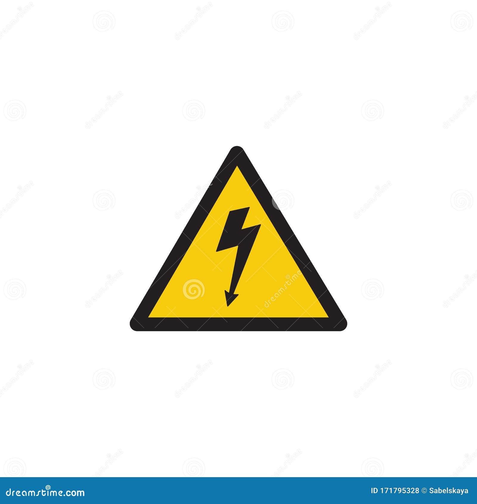 High Voltage Danger Sign With Lightning Bolt Arrow Inside Yellow ...
